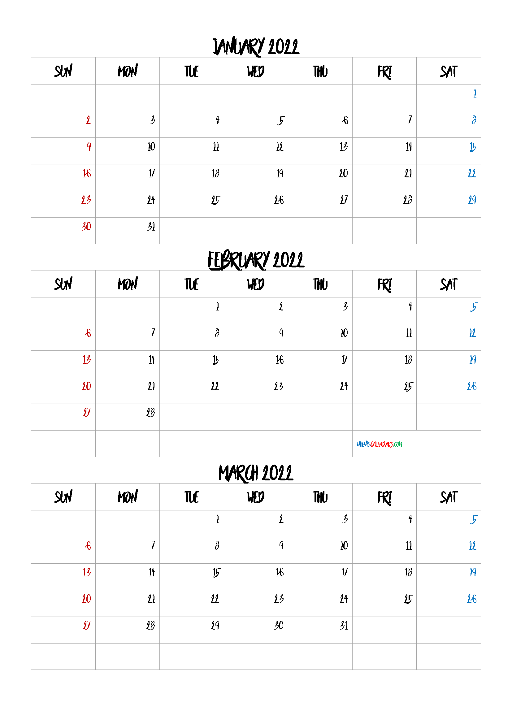 Free January February March 2022 Calendar
