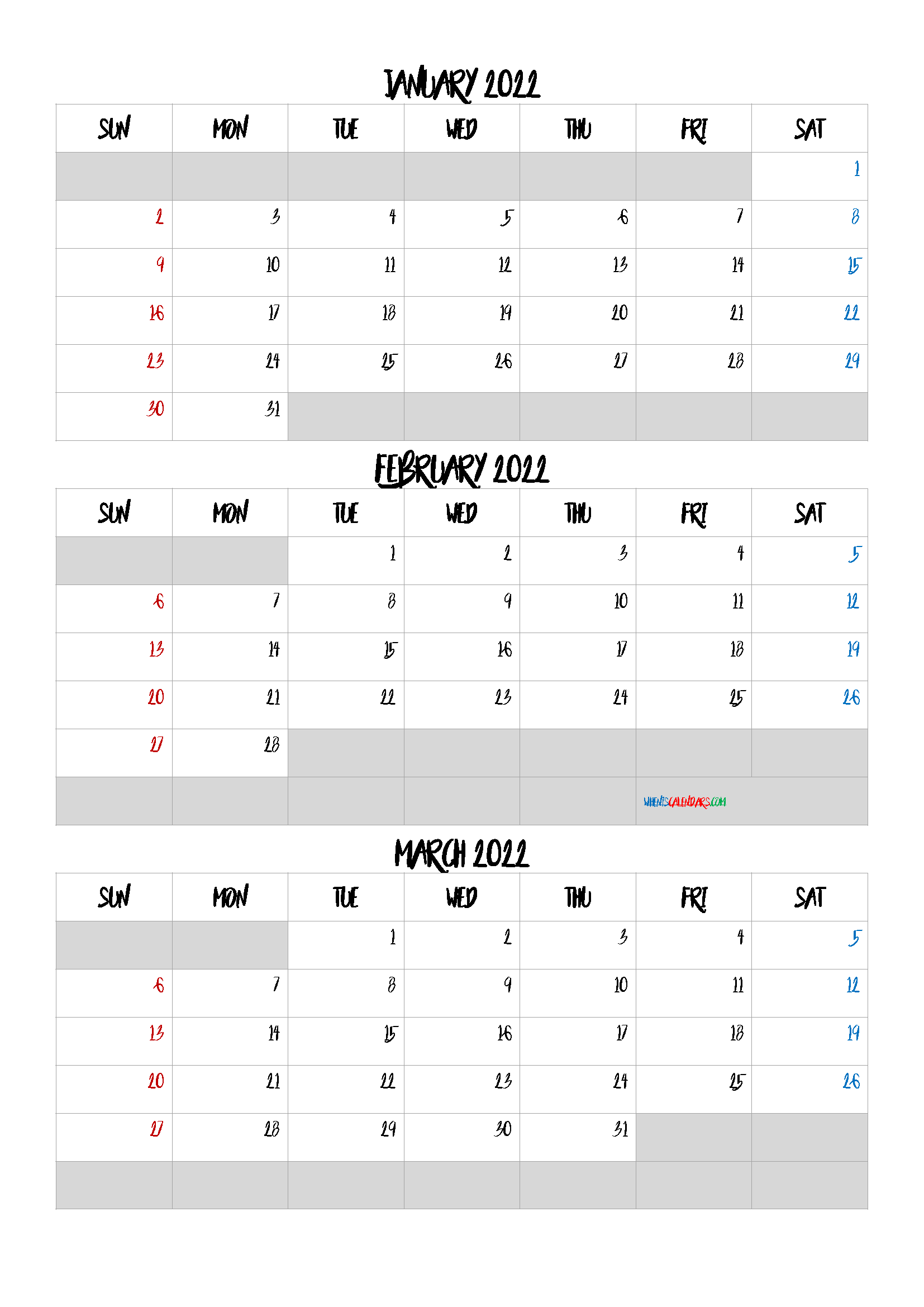 Calendar January February March 2022