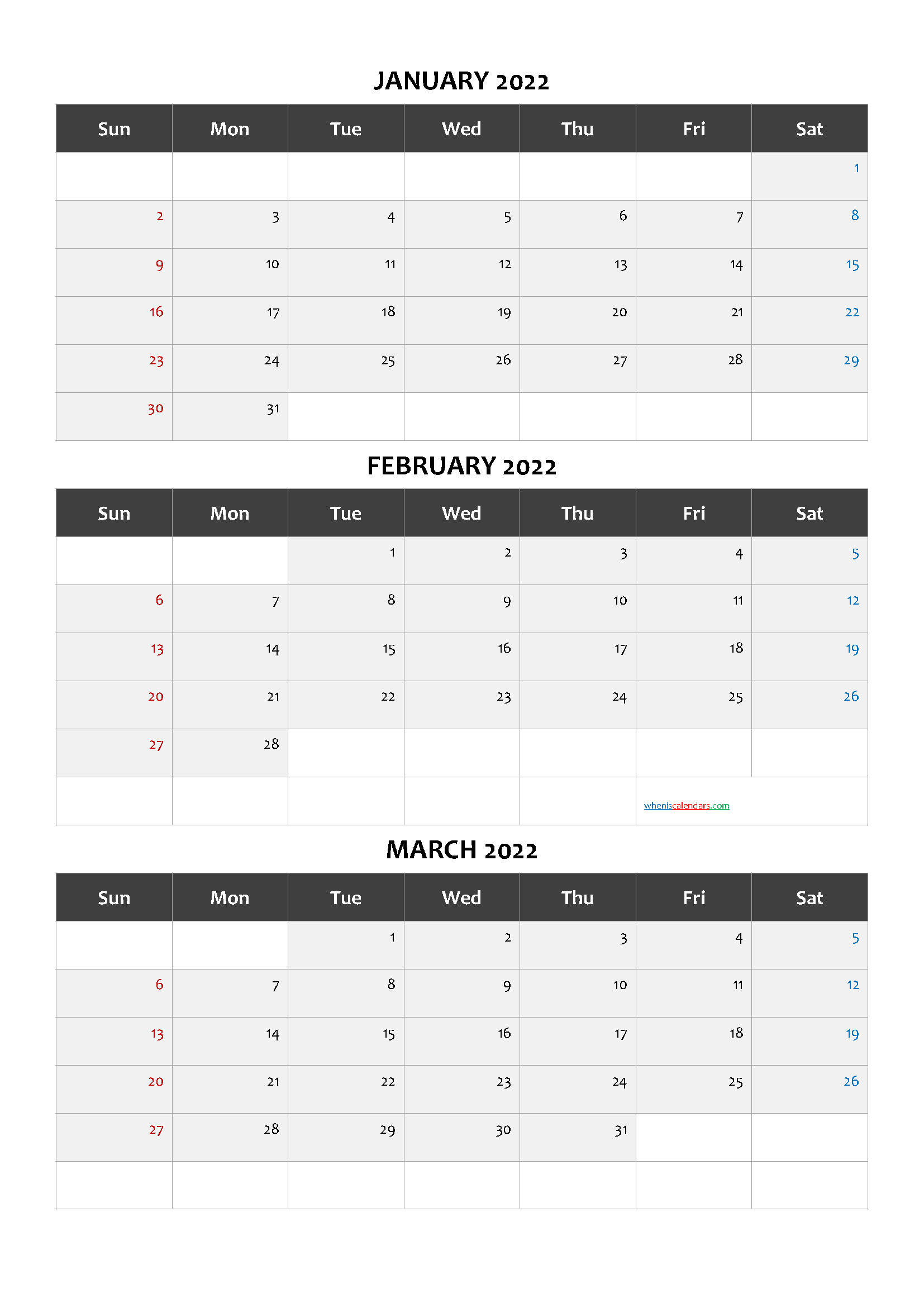 January February March 3 Month Printable Calendar 2022
