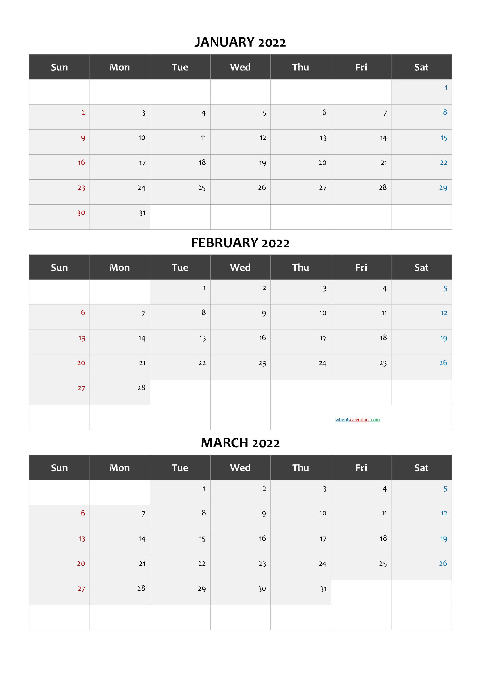 January February March 2022 Printable Calendar