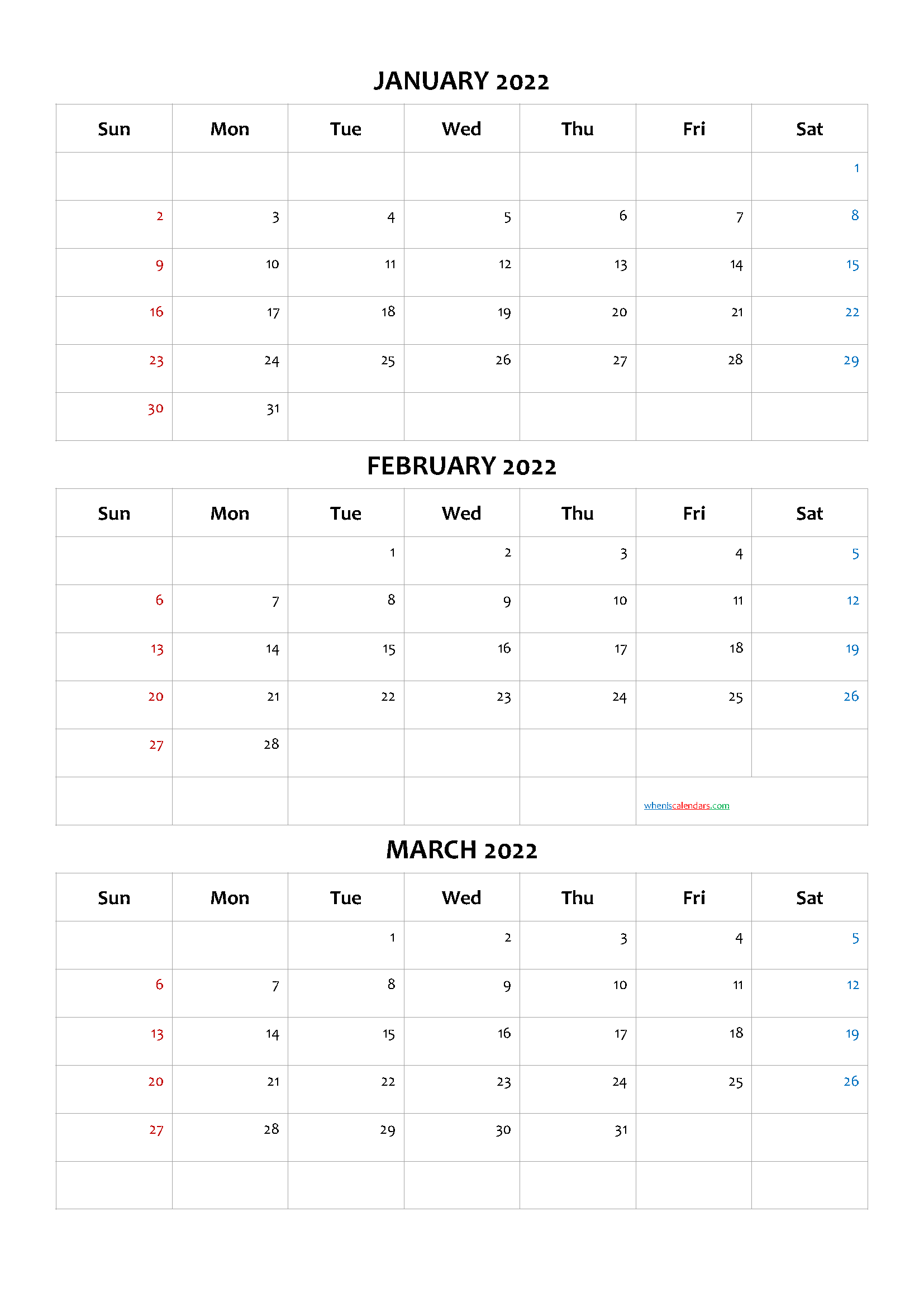 January February March 2022 Calendar Printable Free