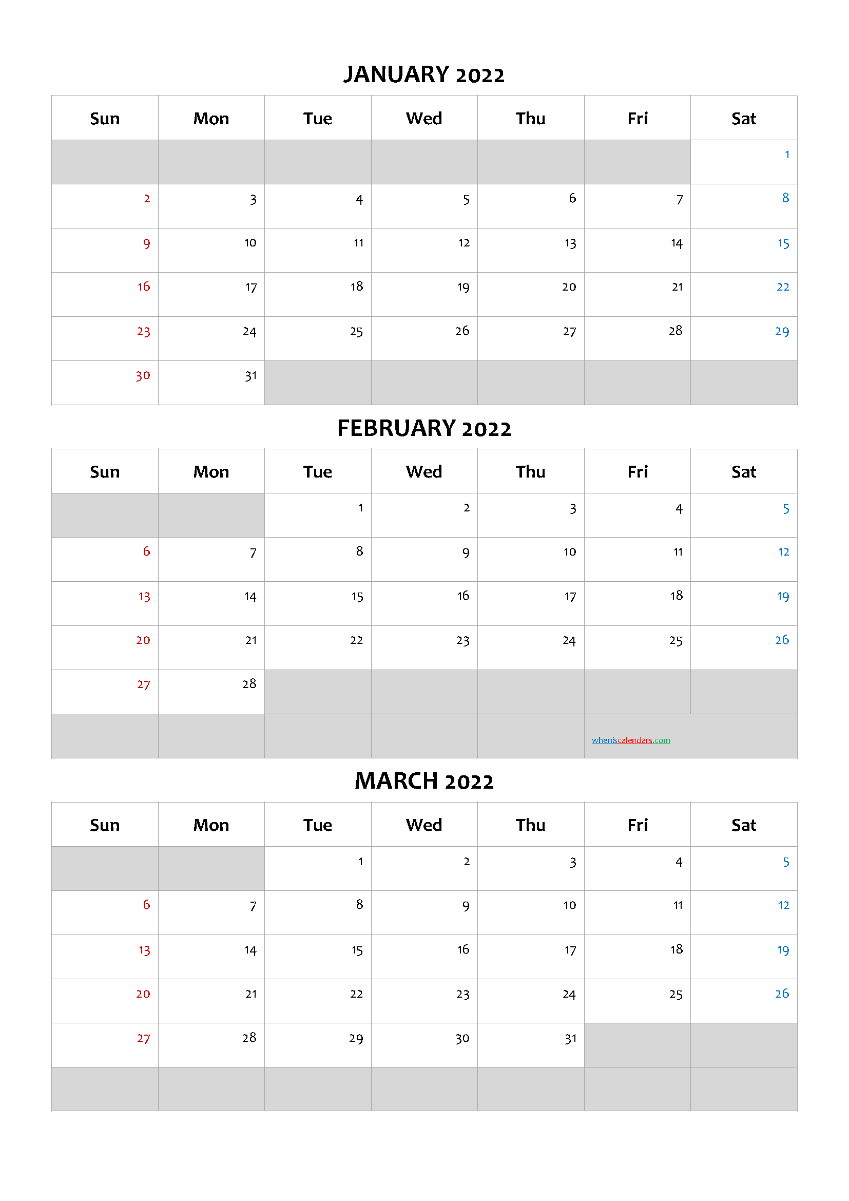 January February March 2022 Calendar Template