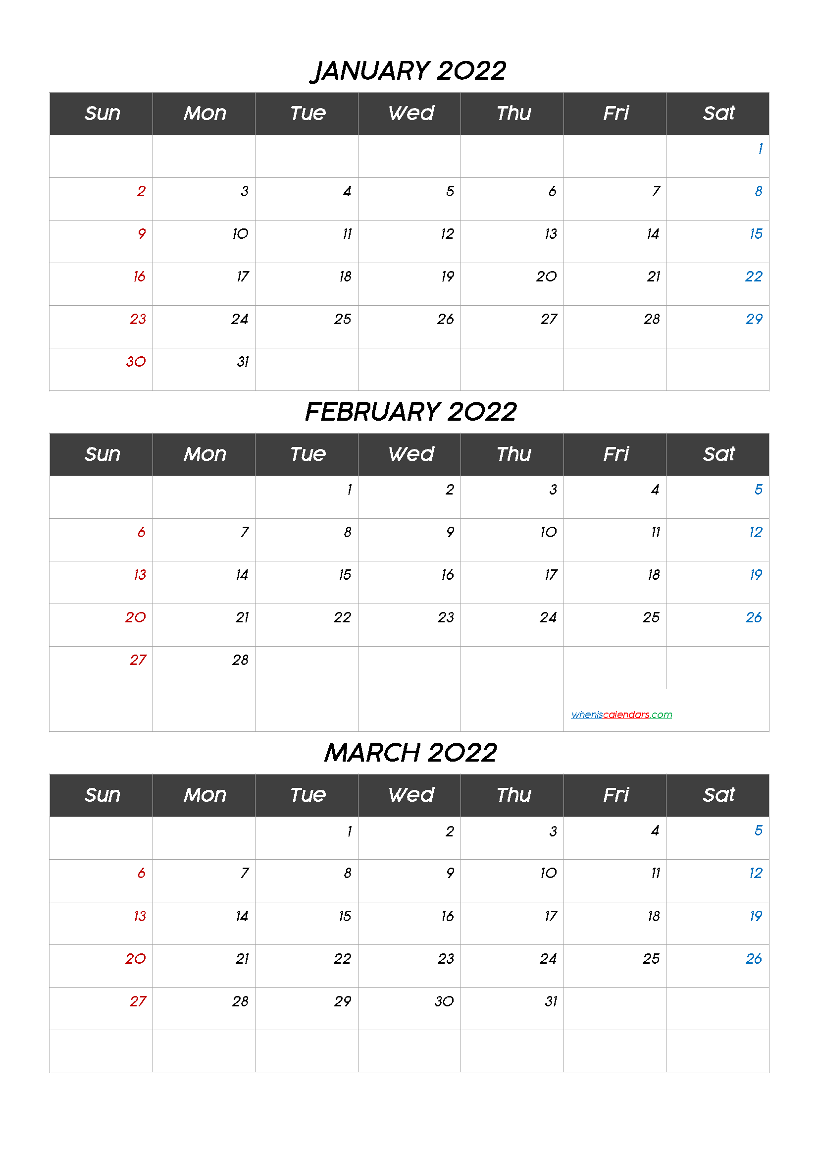 Free Printable 3 Month Calendar2022 January February March