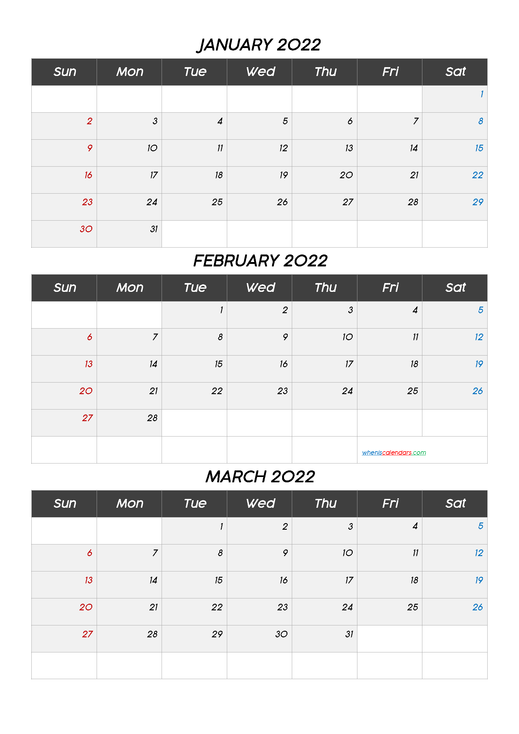 Free Calendar January February March 2022