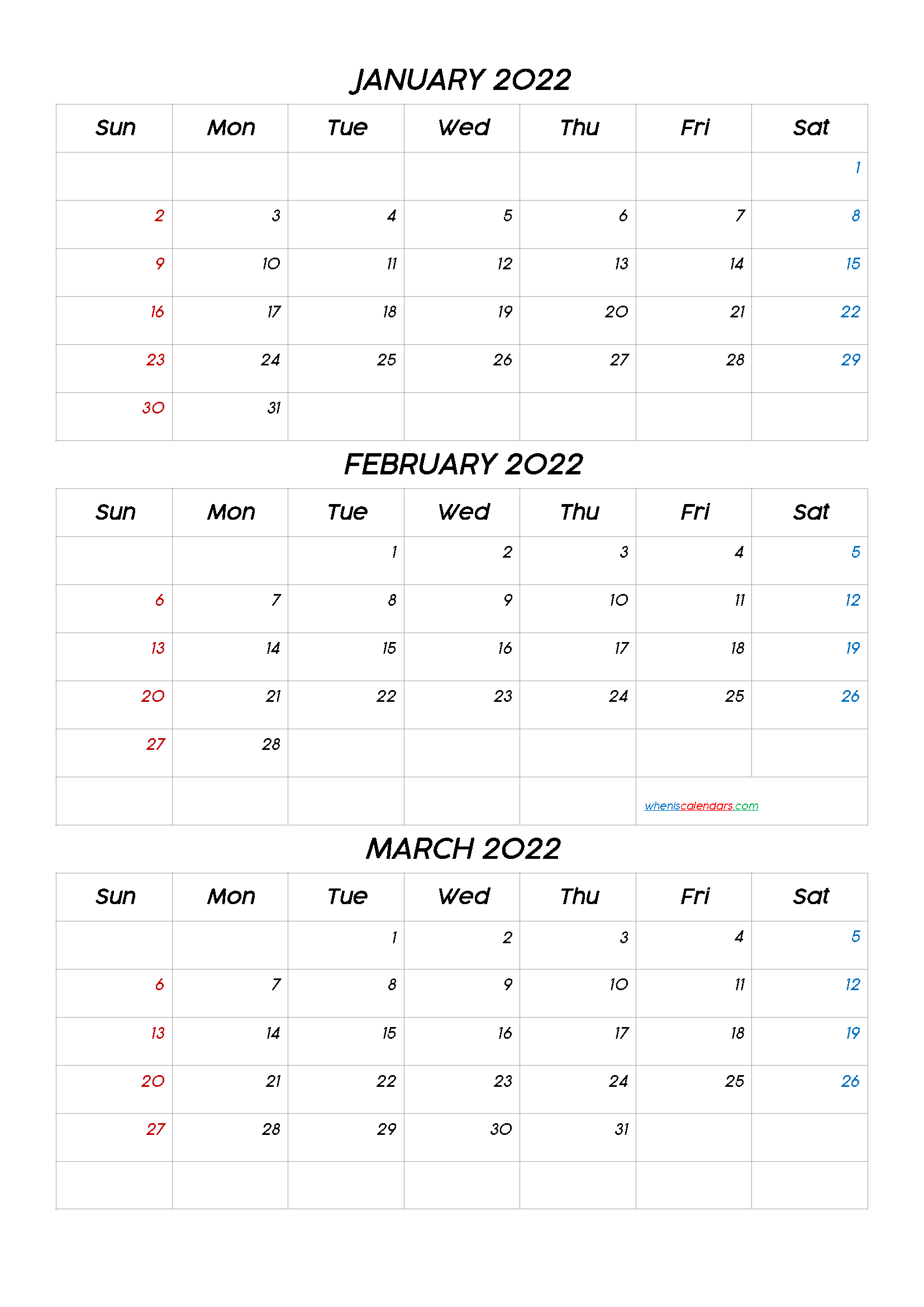 January February March 2022 Three Month Calendar Printable