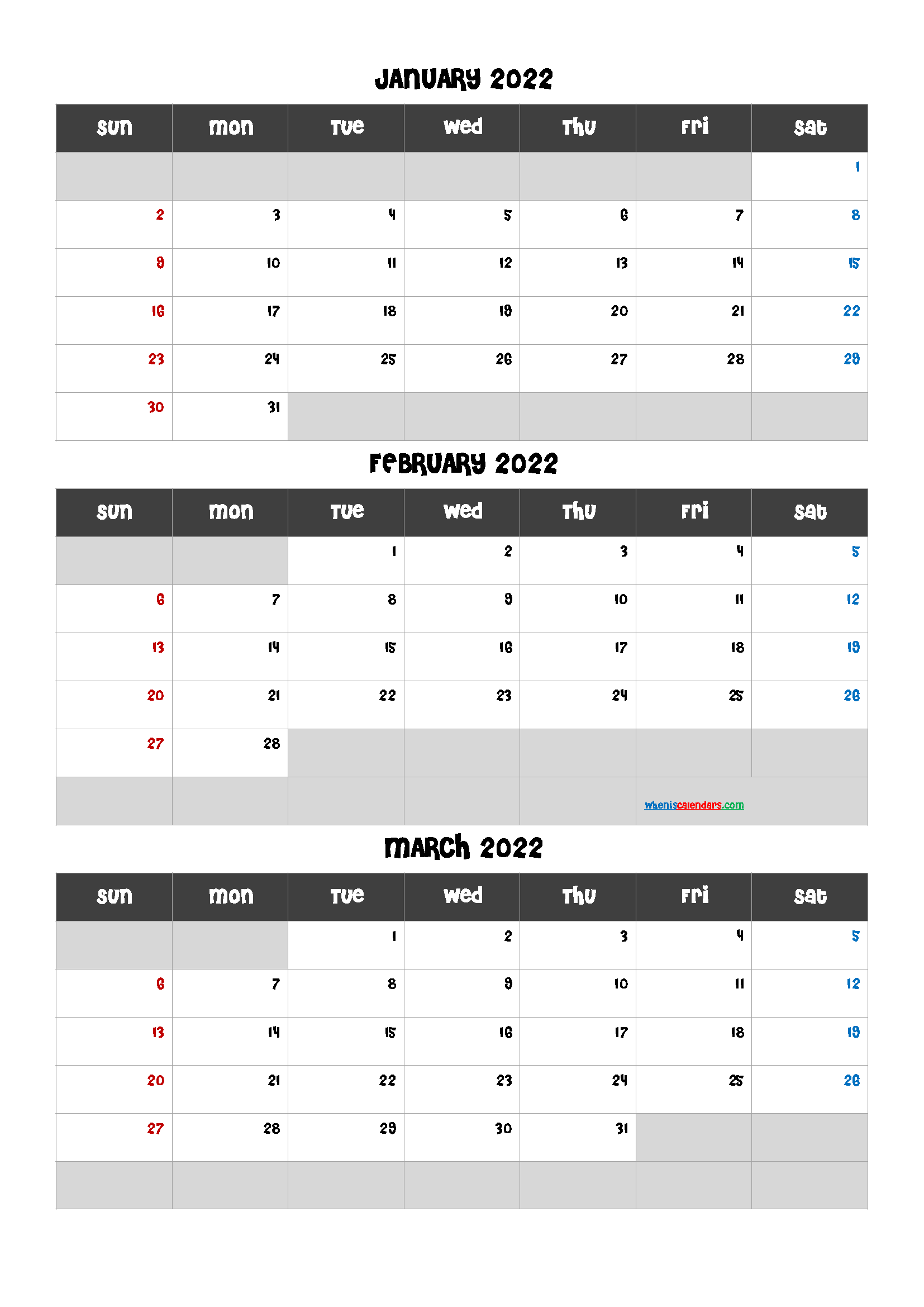 Free January February March 2022 Calendar
