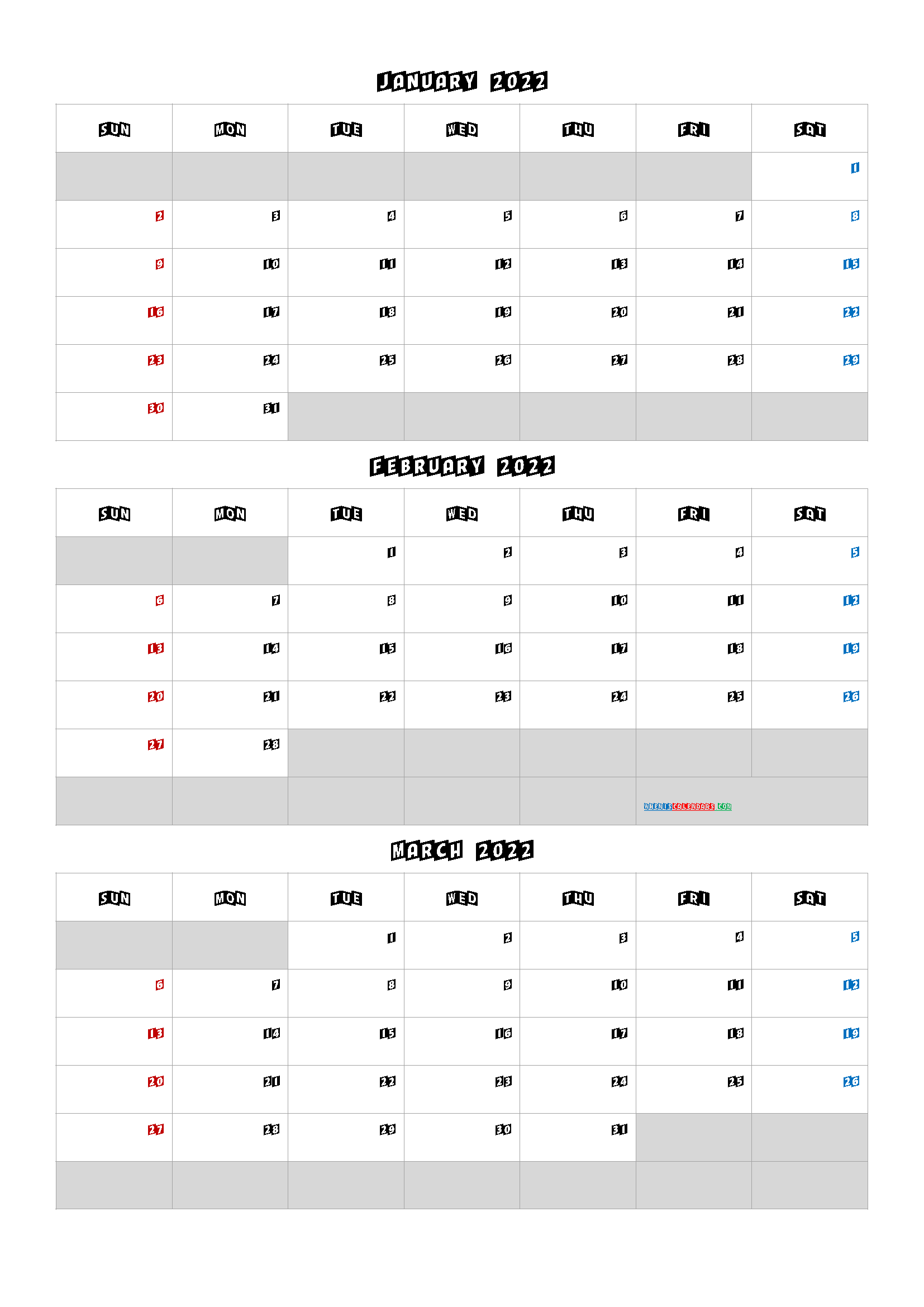 January February March 2022 Calendar