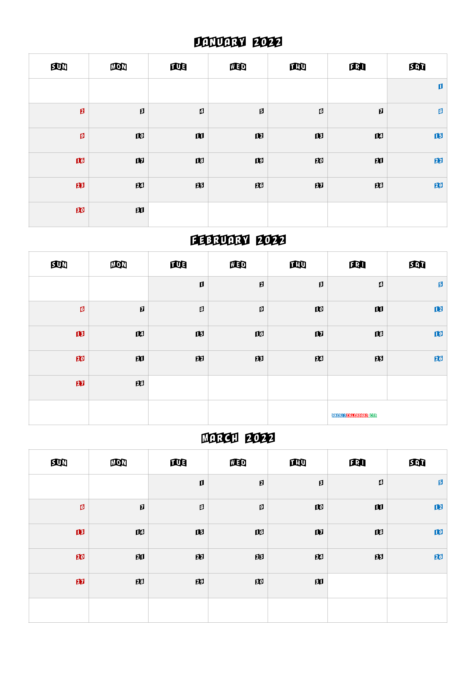 January February March 2022 Three Month Calendar