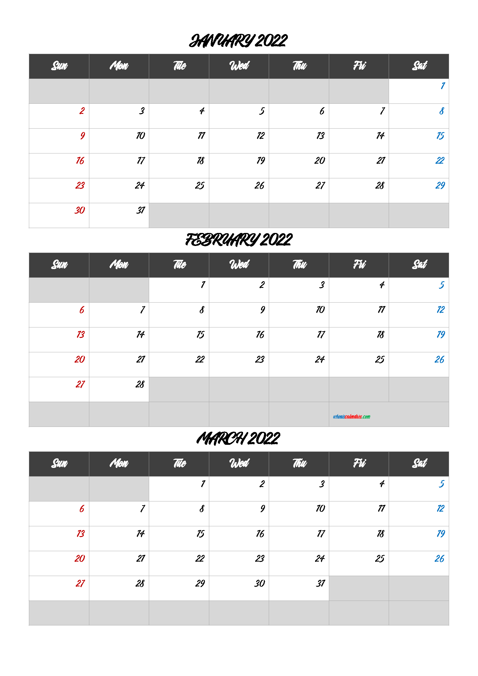 January February March 2022 Printable Calendar