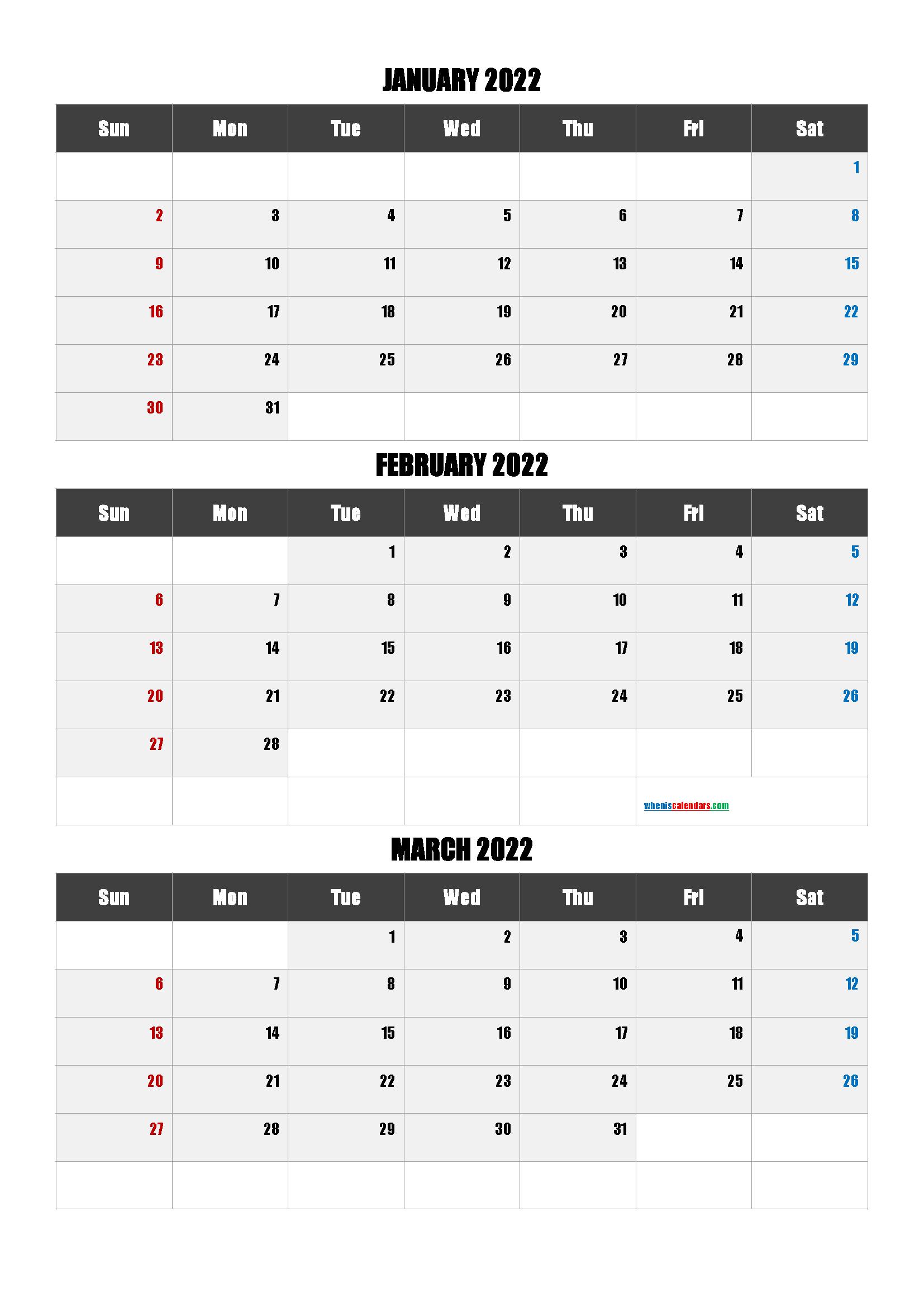 January February March 2022 Calendar Template
