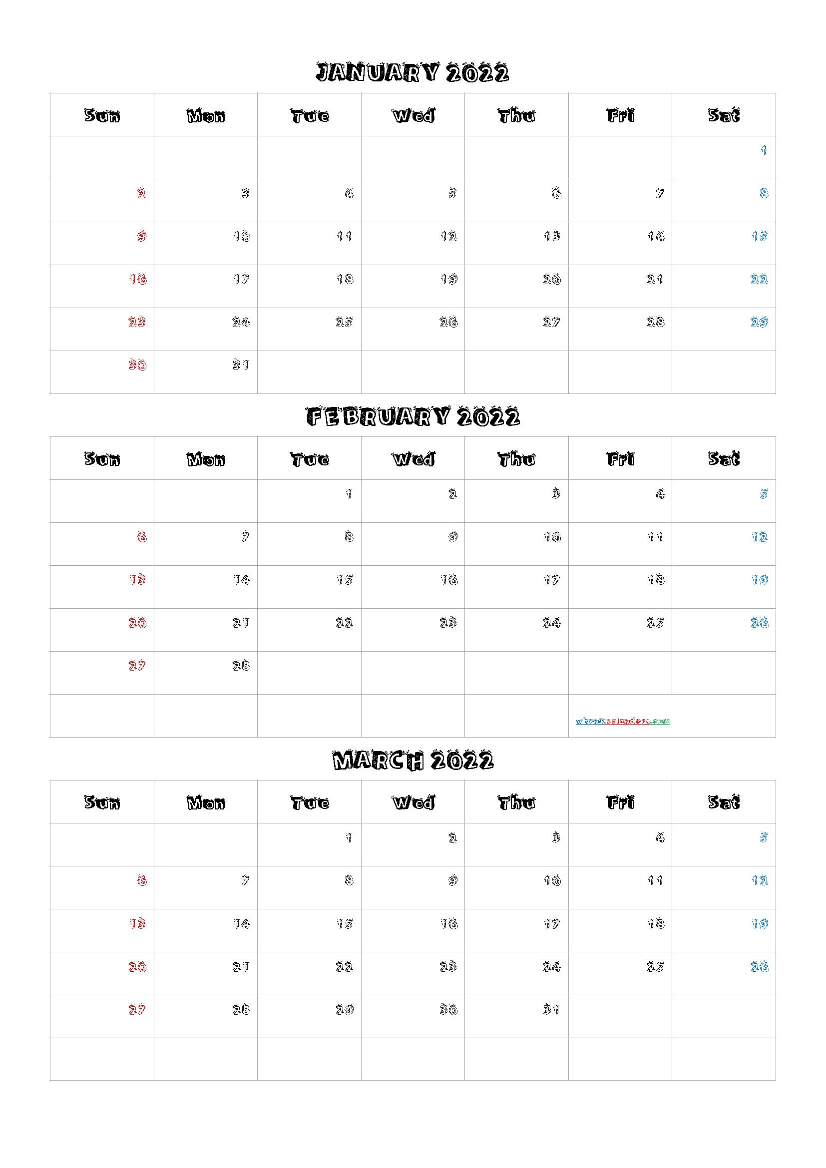 January February March 2022 Three Month Calendar Printable