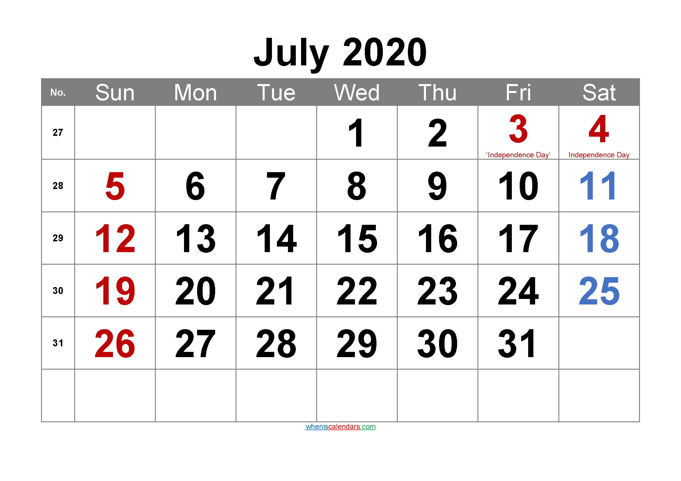 Printable July 2020 Calendar with Holidays