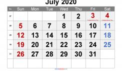 Free July 2020 Calendar Printable