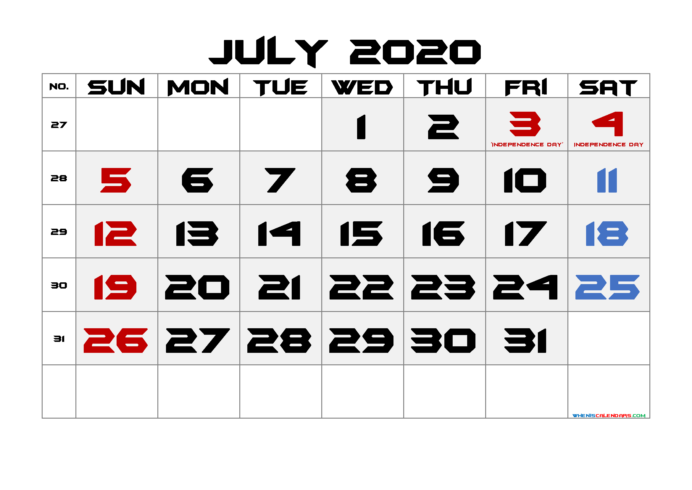 Free July 2020 Printable Calendar with Holidays