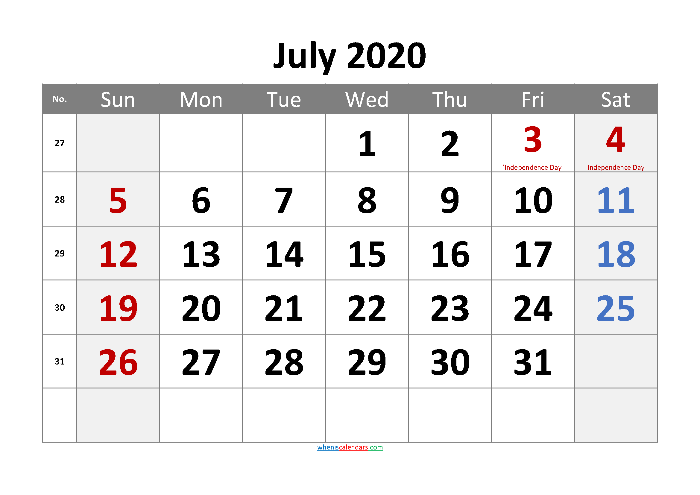 July 2020 Printable Calendar with Holidays