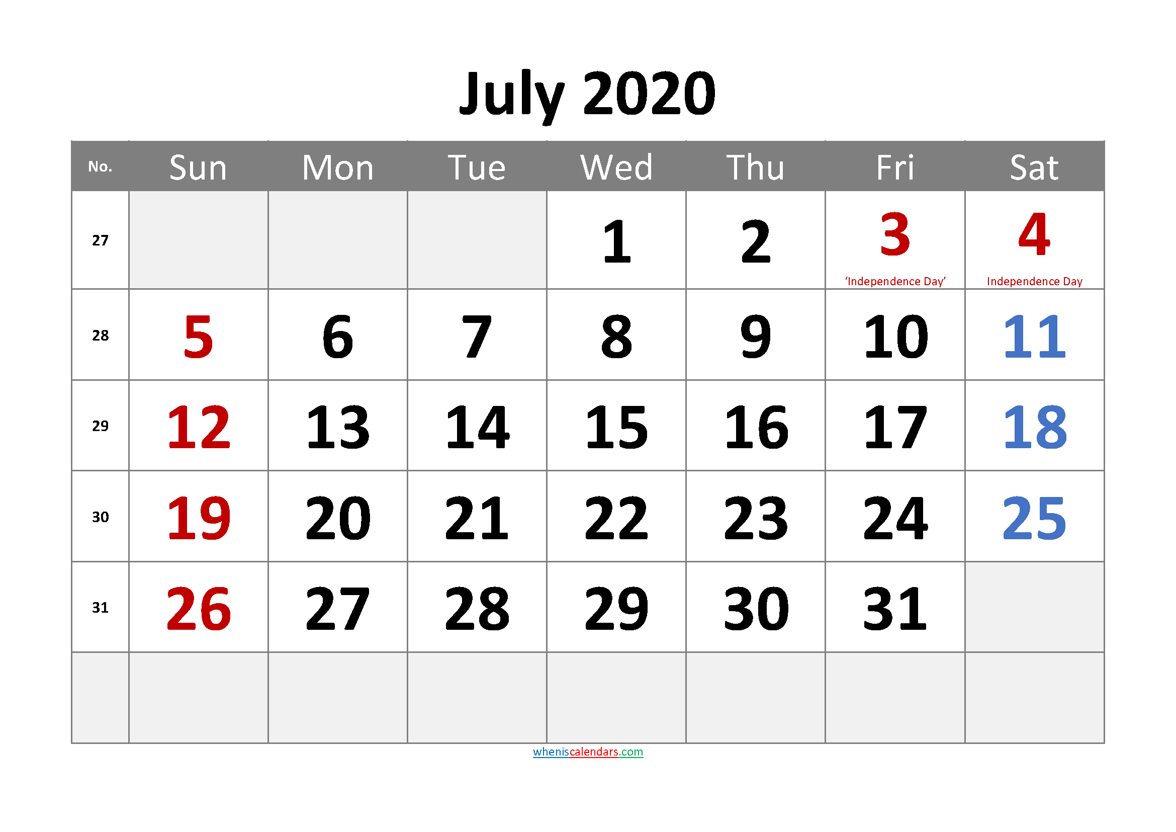 Free Printable JULY 2020 Calendar with Holidays