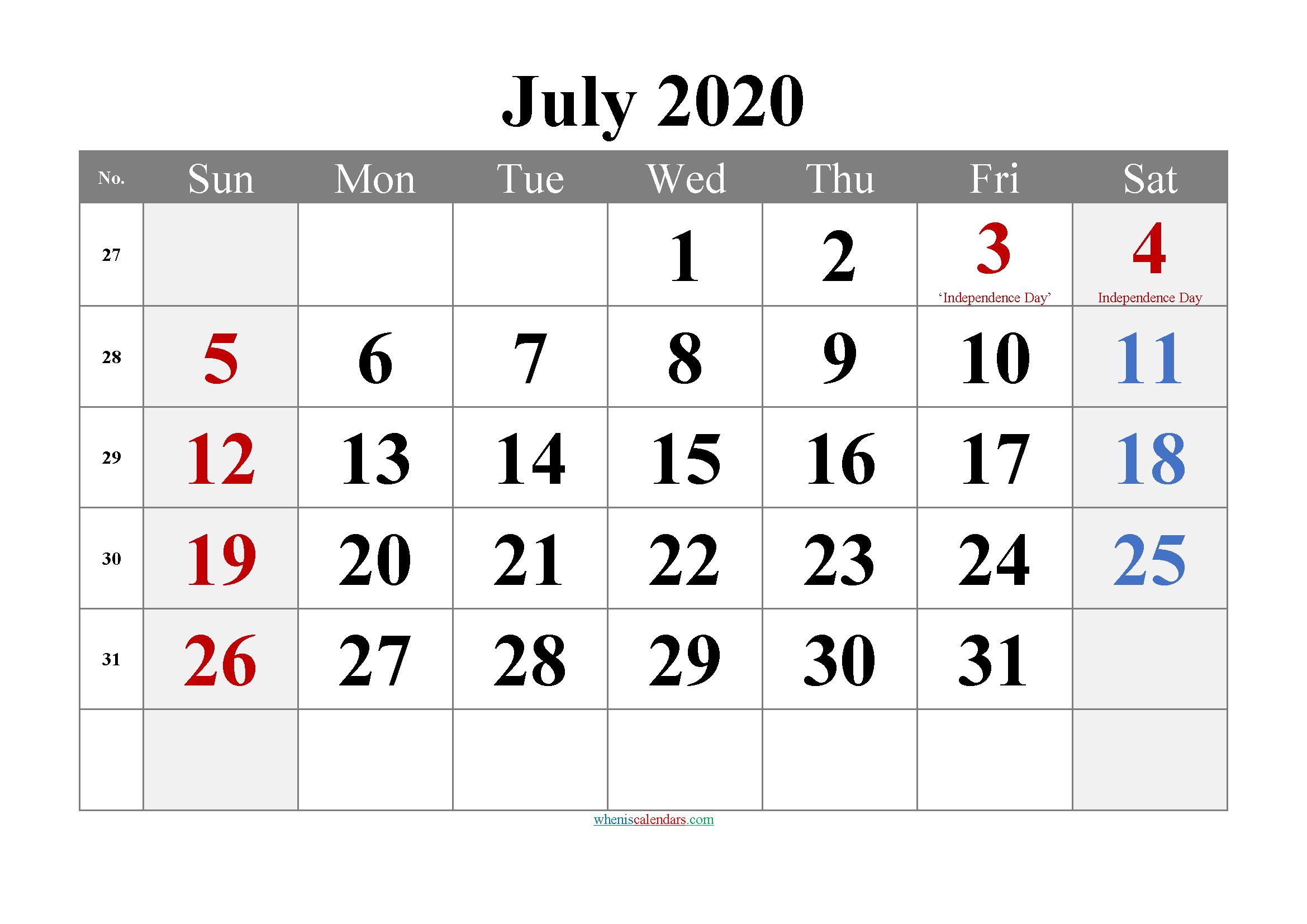 Editable July 2020 Calendar