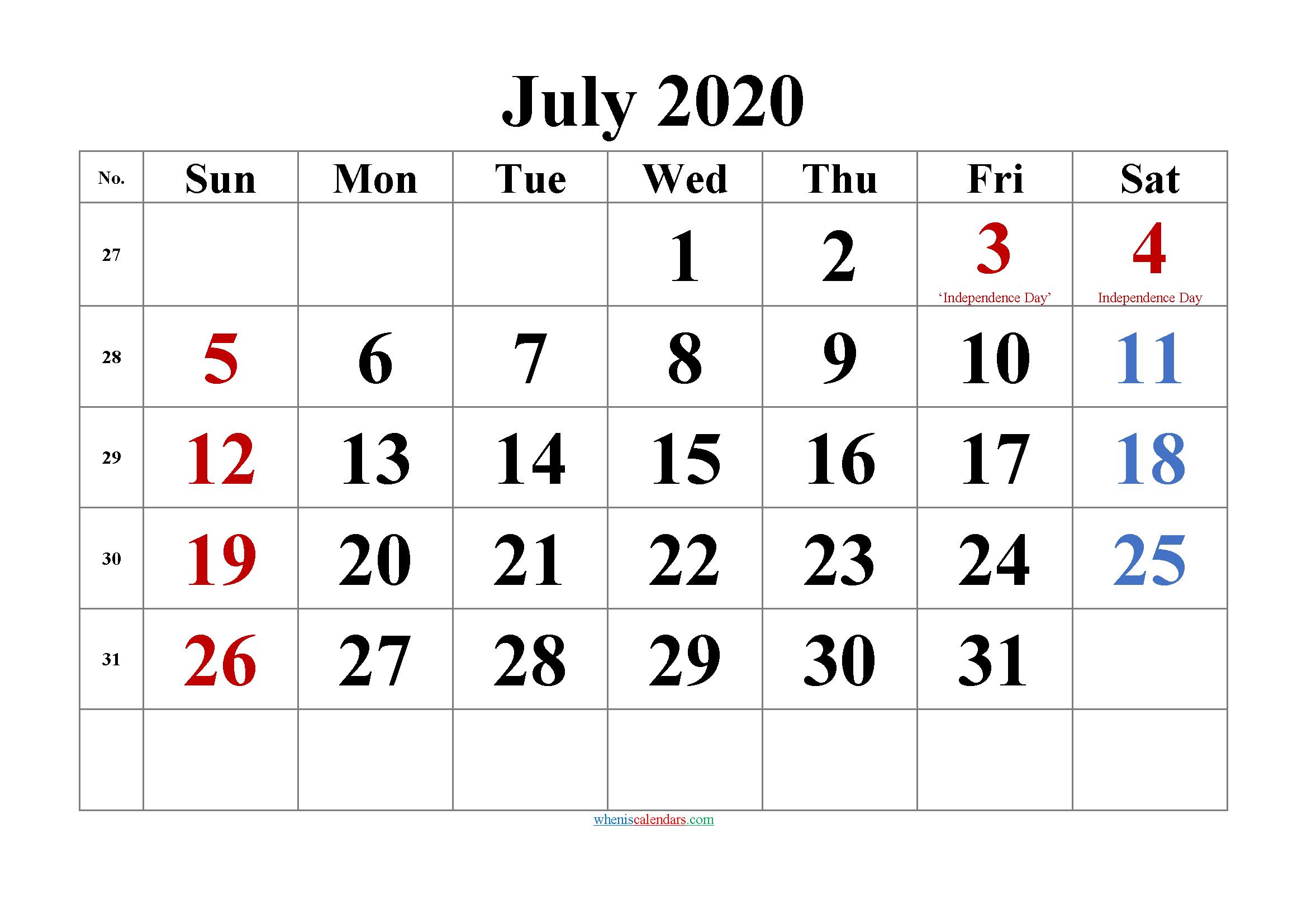 Printable JULY 2020 Calendar with Holidays