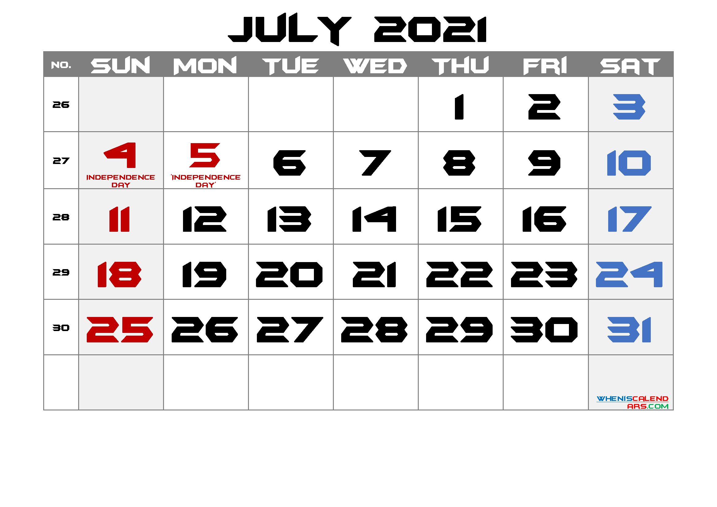 Printable JULY 2021 Calendar with Holidays