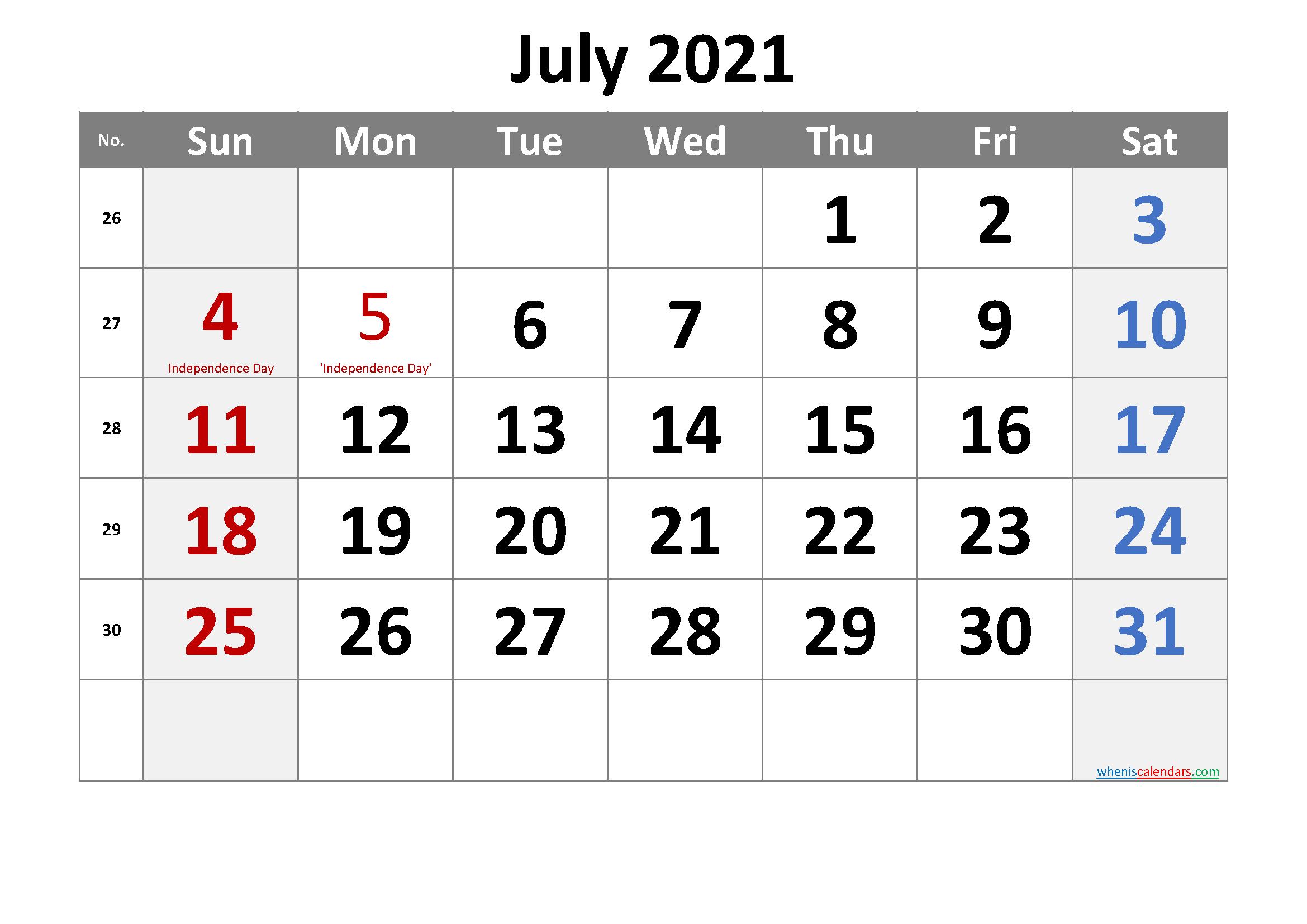 July 2021 Printable Calendar with Holidays