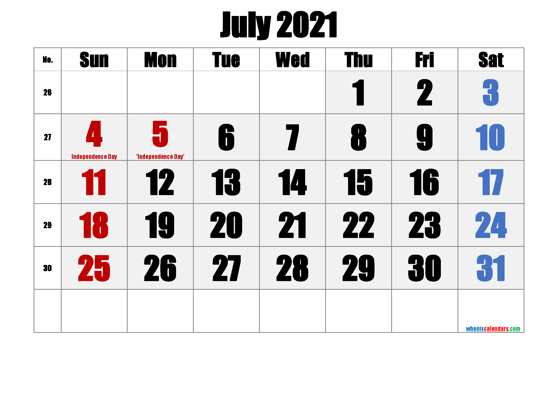 July 2021 Free Printable Calendar with Holidays