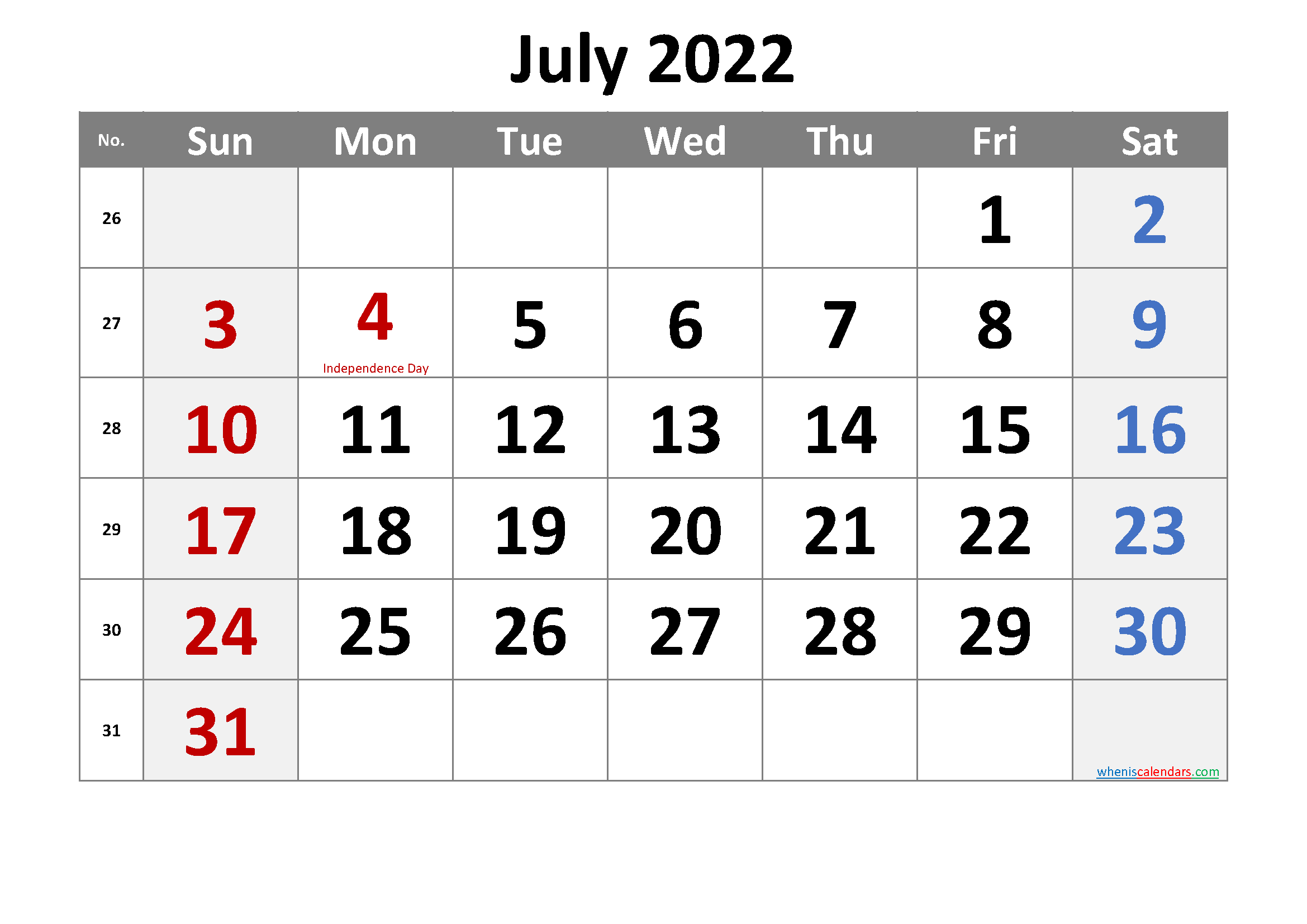 Free July 2022 Monthly Calendar Template Word