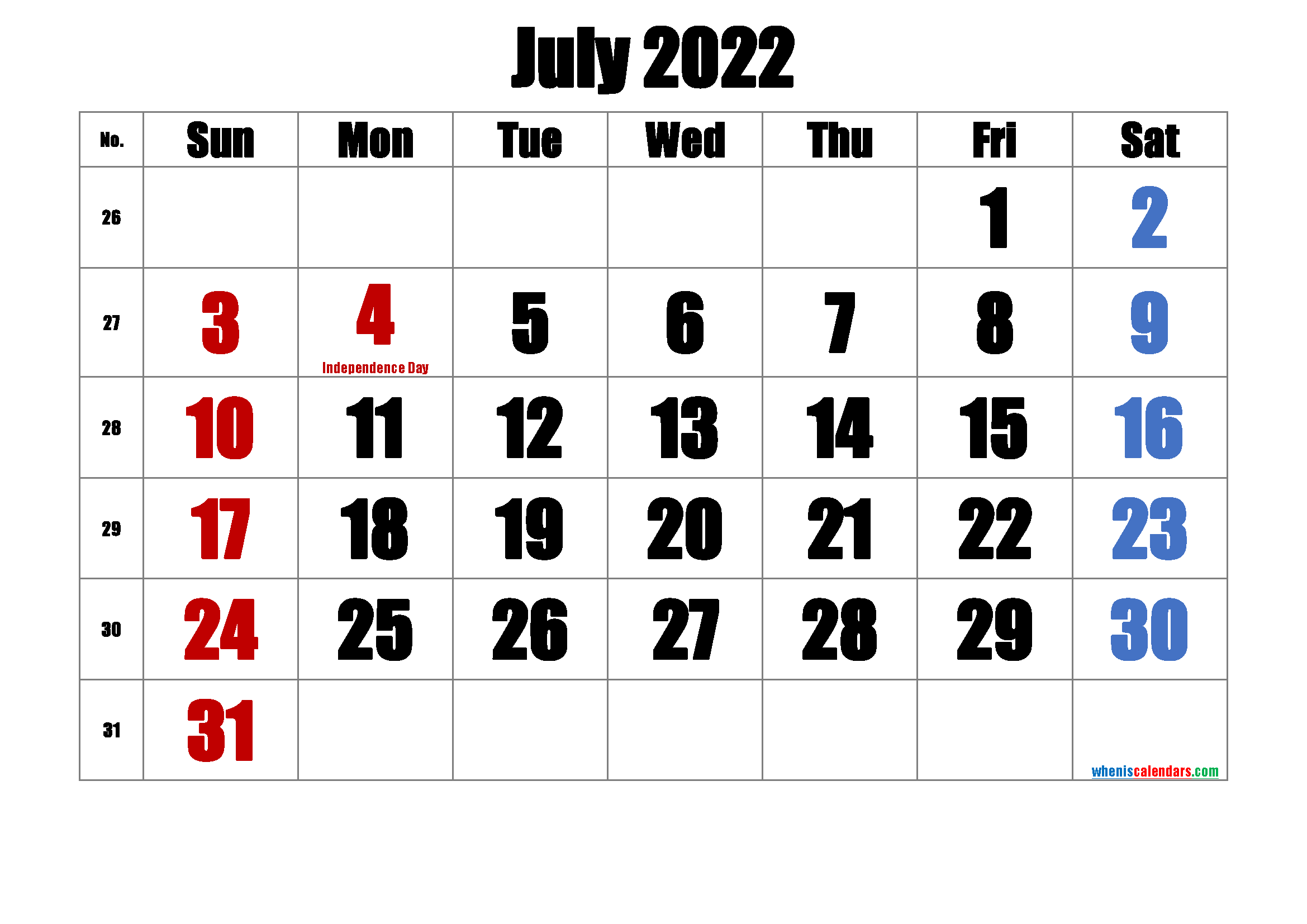 Printable JULY 2022 Calendar with Holidays