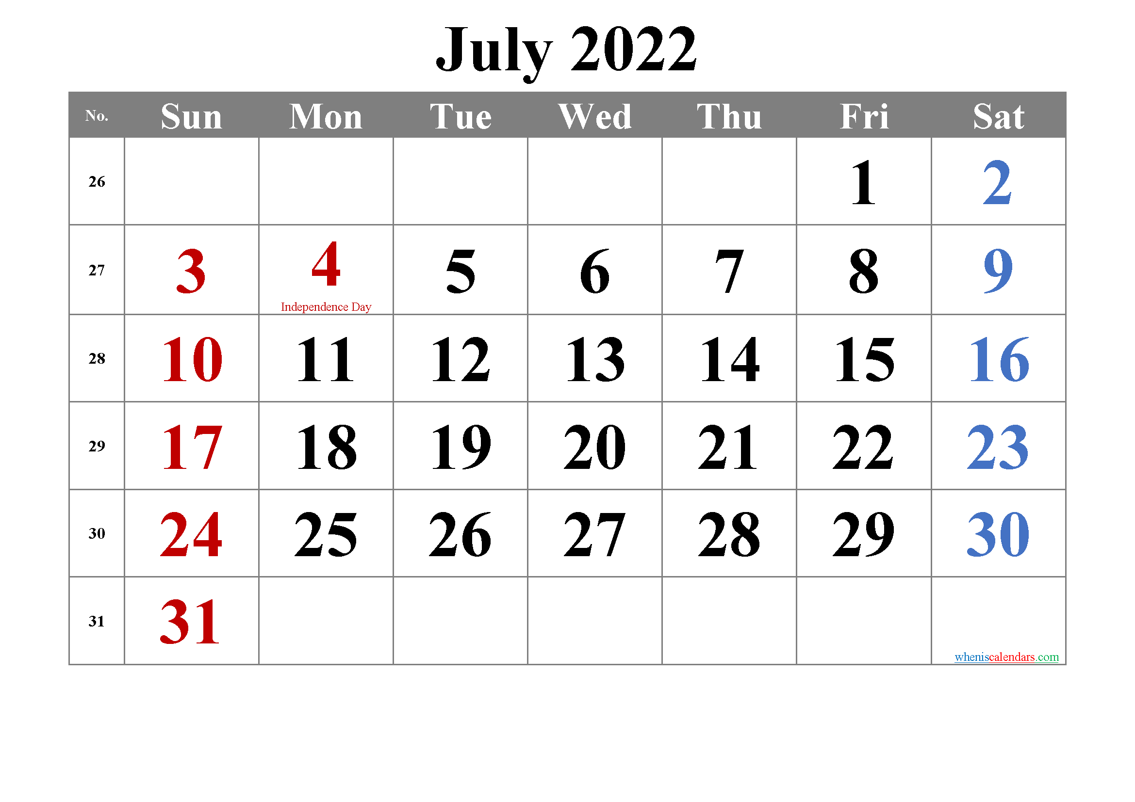 July 2022 Calendar with Holidays Printable