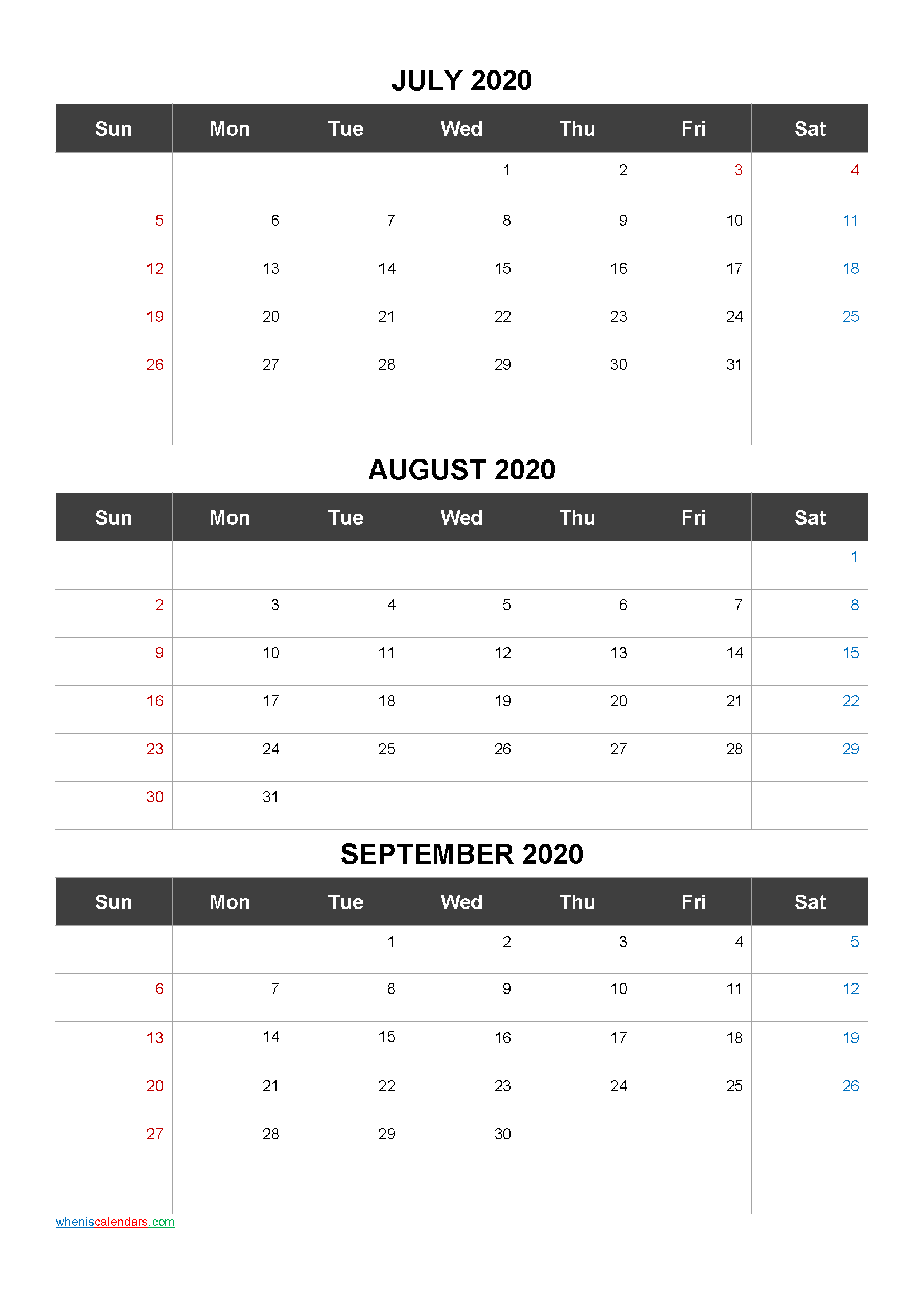 Free Printable 3 Month Calendar2021 July August September