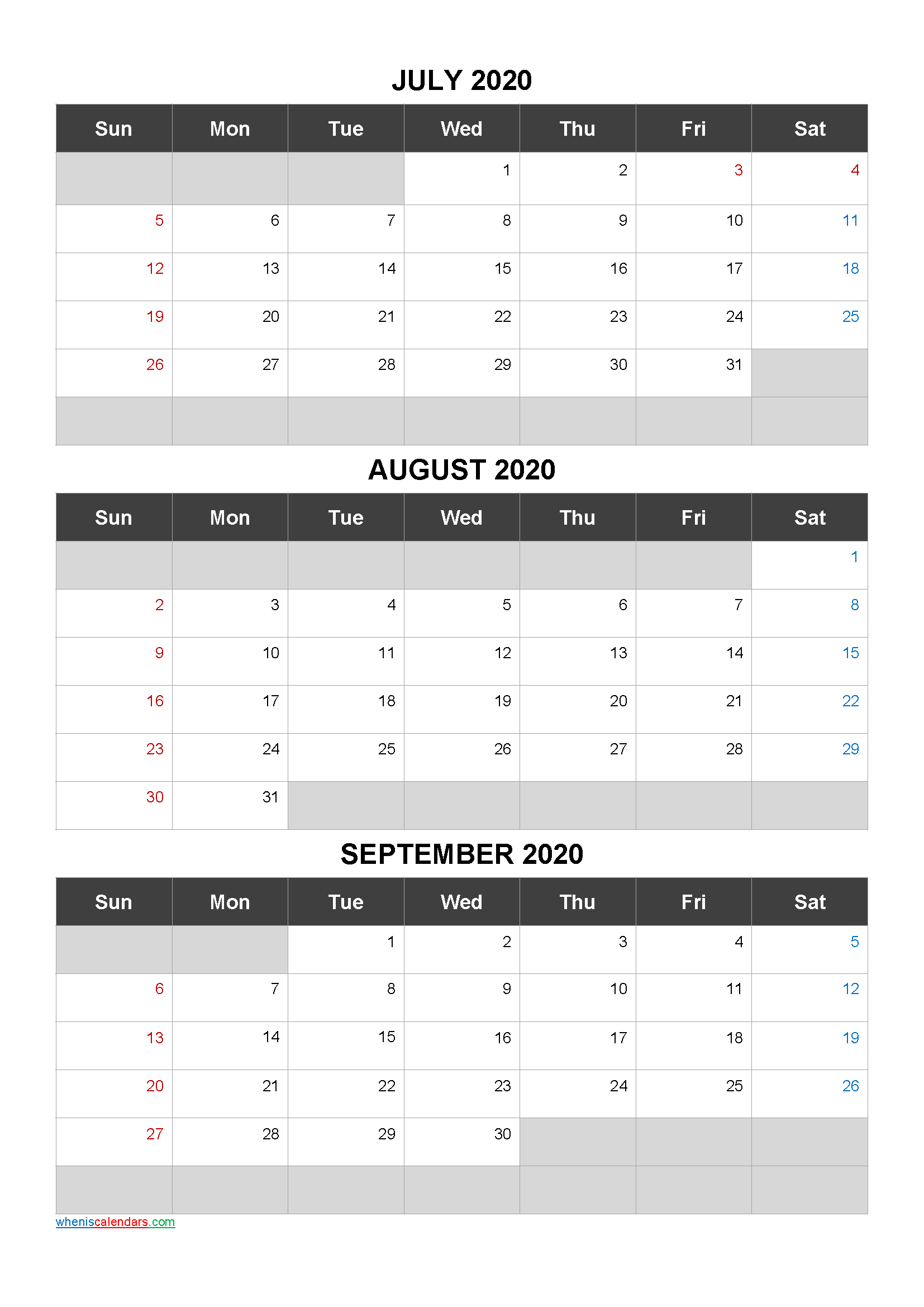 July August September 2020 Free Printable 3 Month Calendar