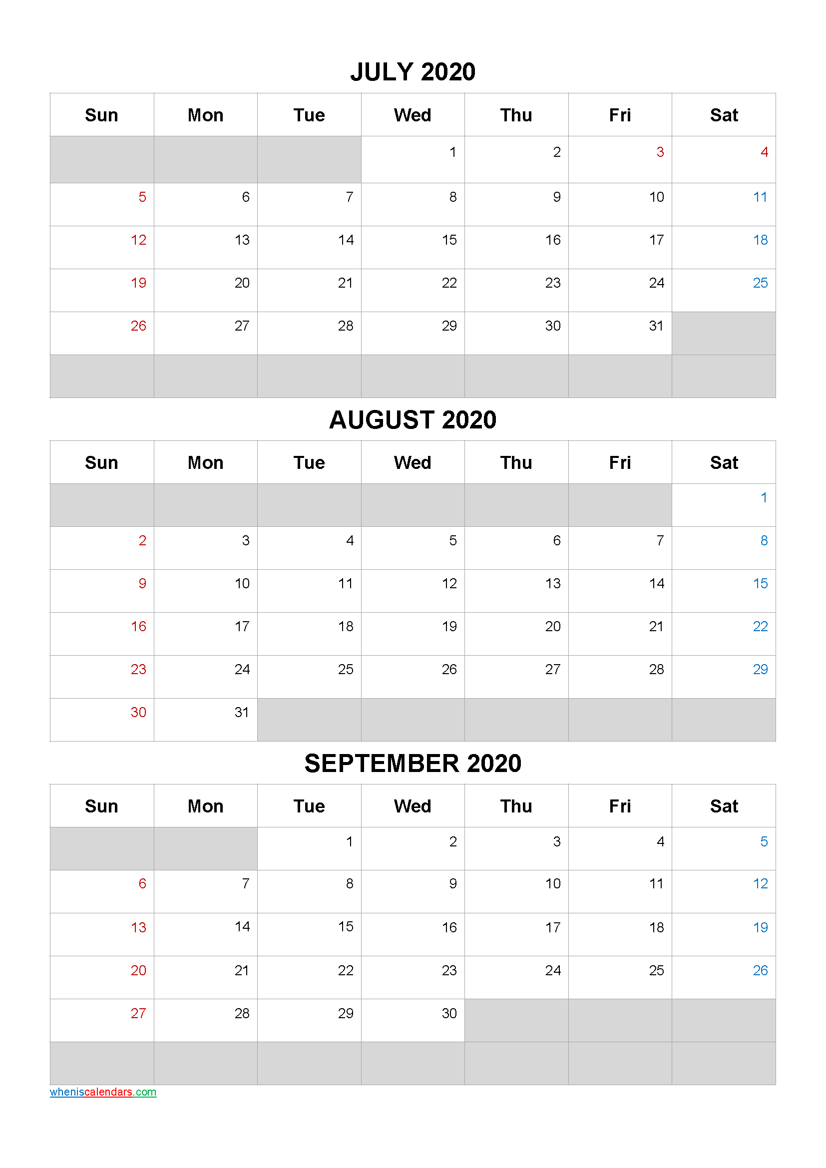 July August September 2020 Calendar Template