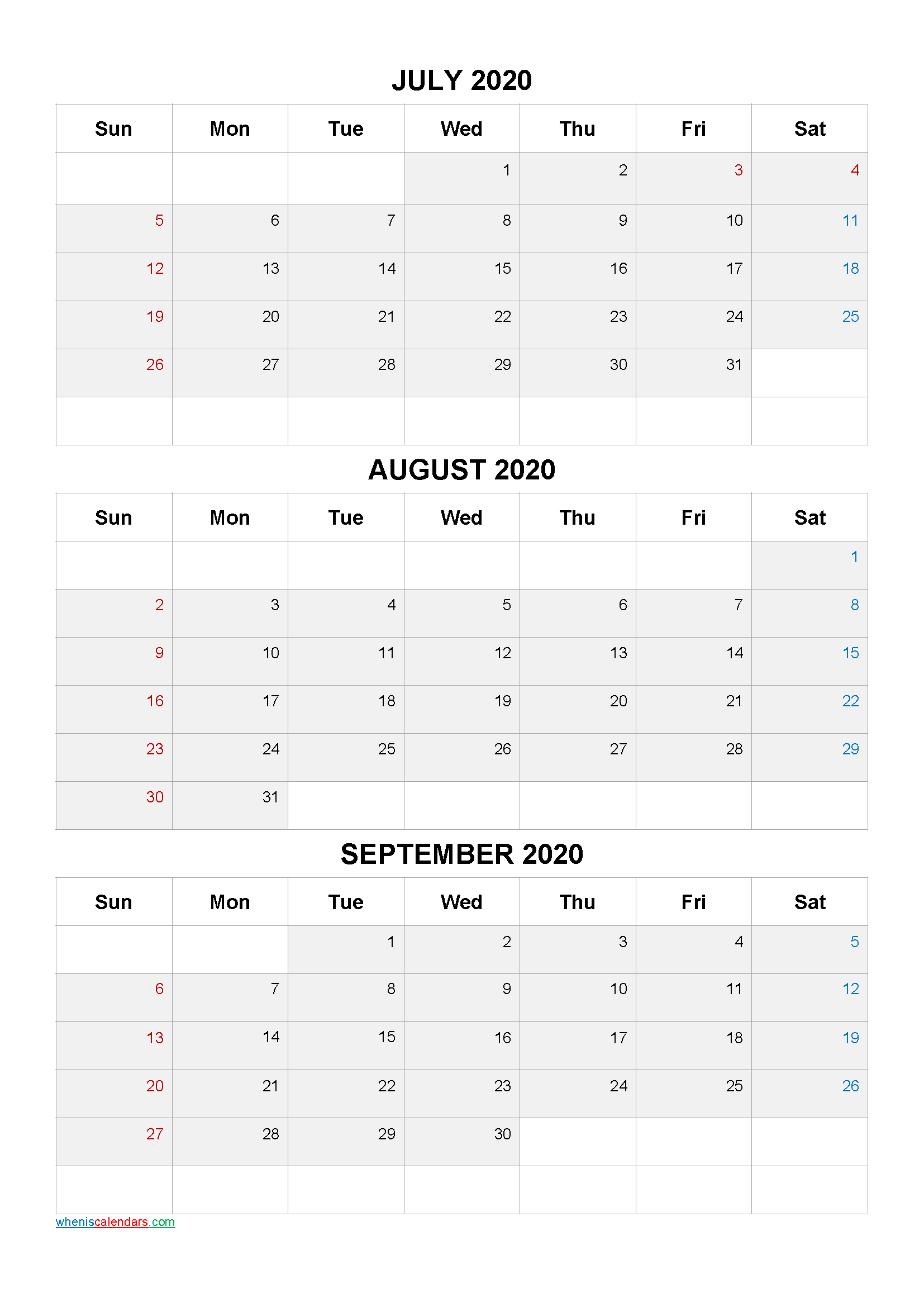 July August September 2021 Three Month Calendar