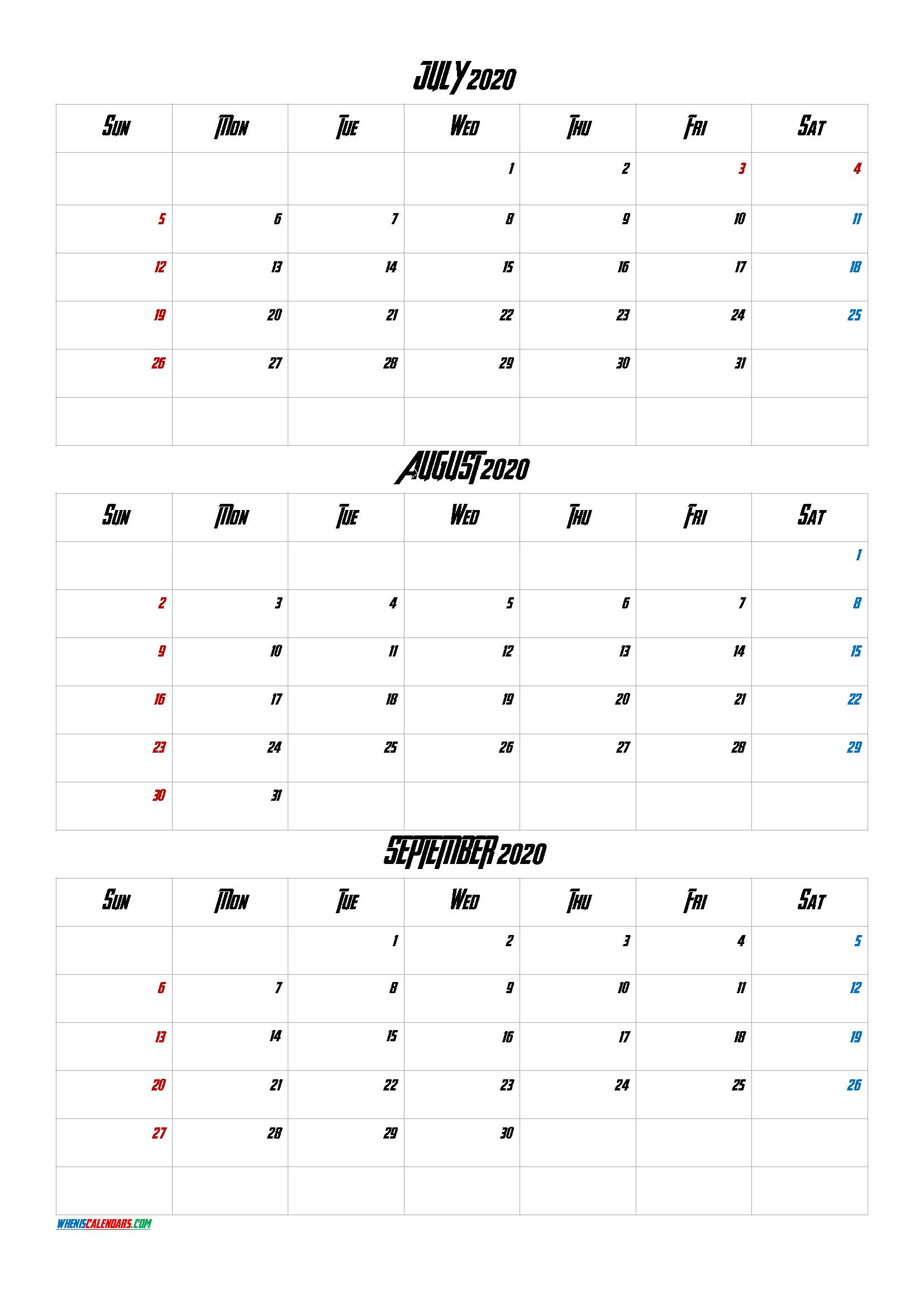 July August September 2020 Three Month Calendar Printable