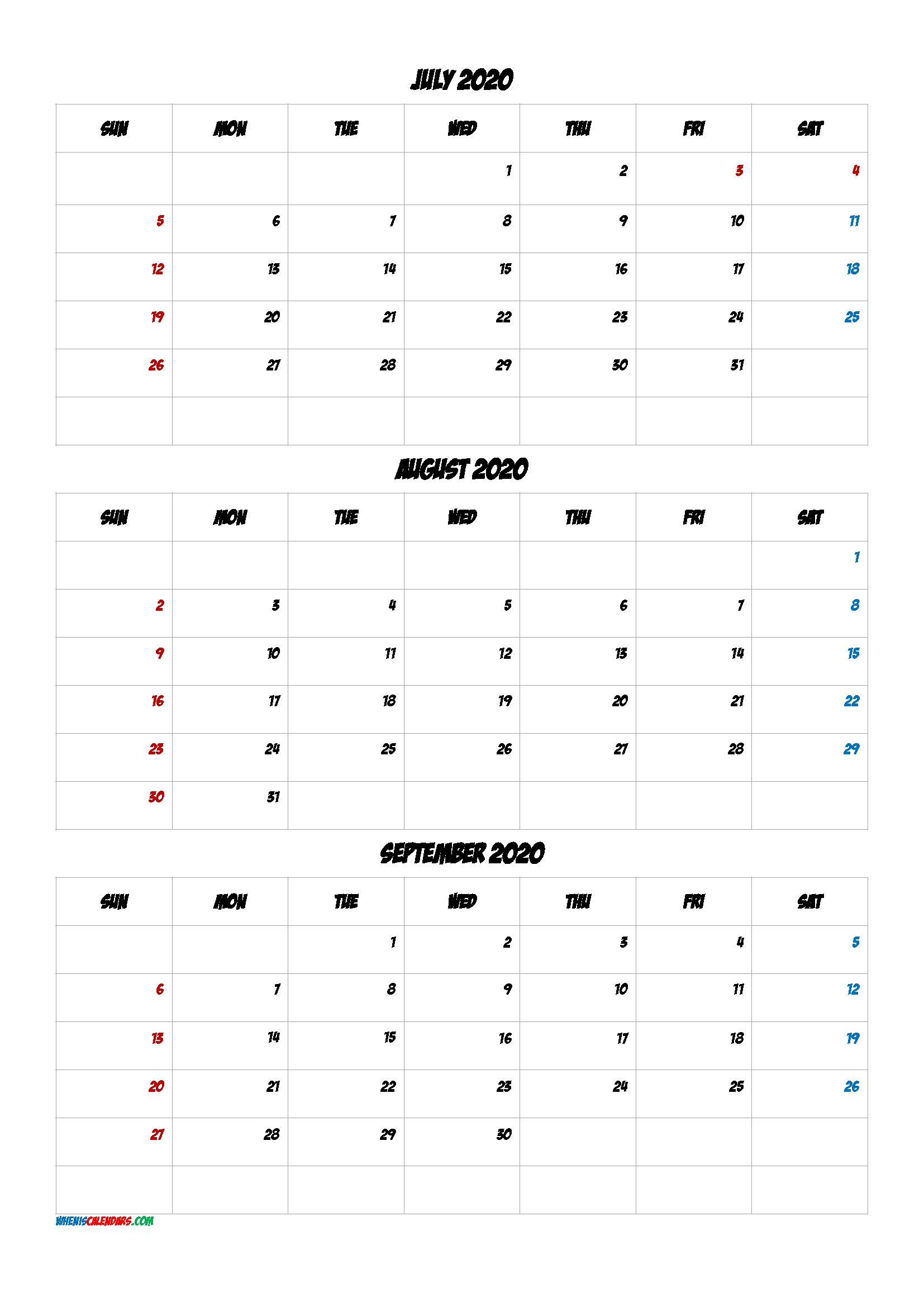 July August September 2020 Printable Calendar