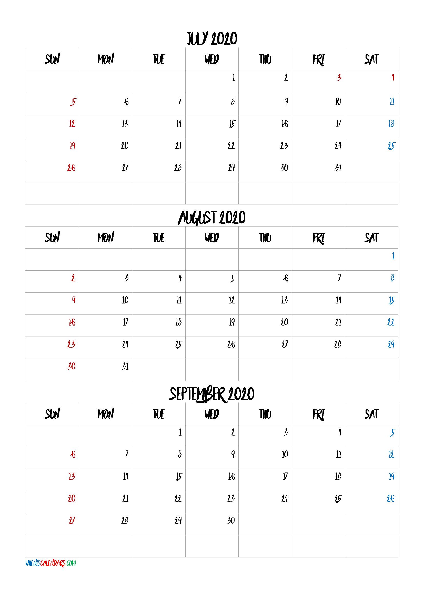 Free July August September 2020 Calendar