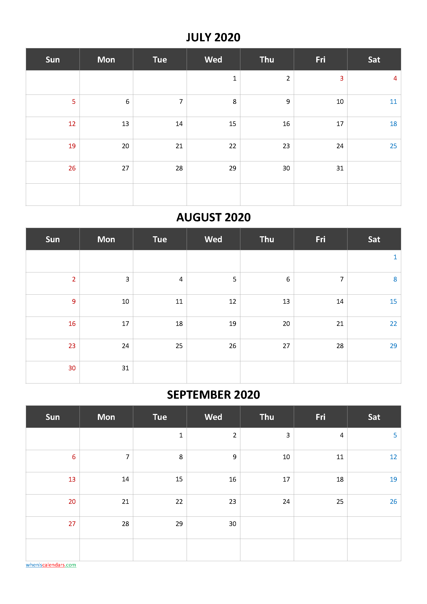 Free Printable 3 Month Calendar2020 July August September