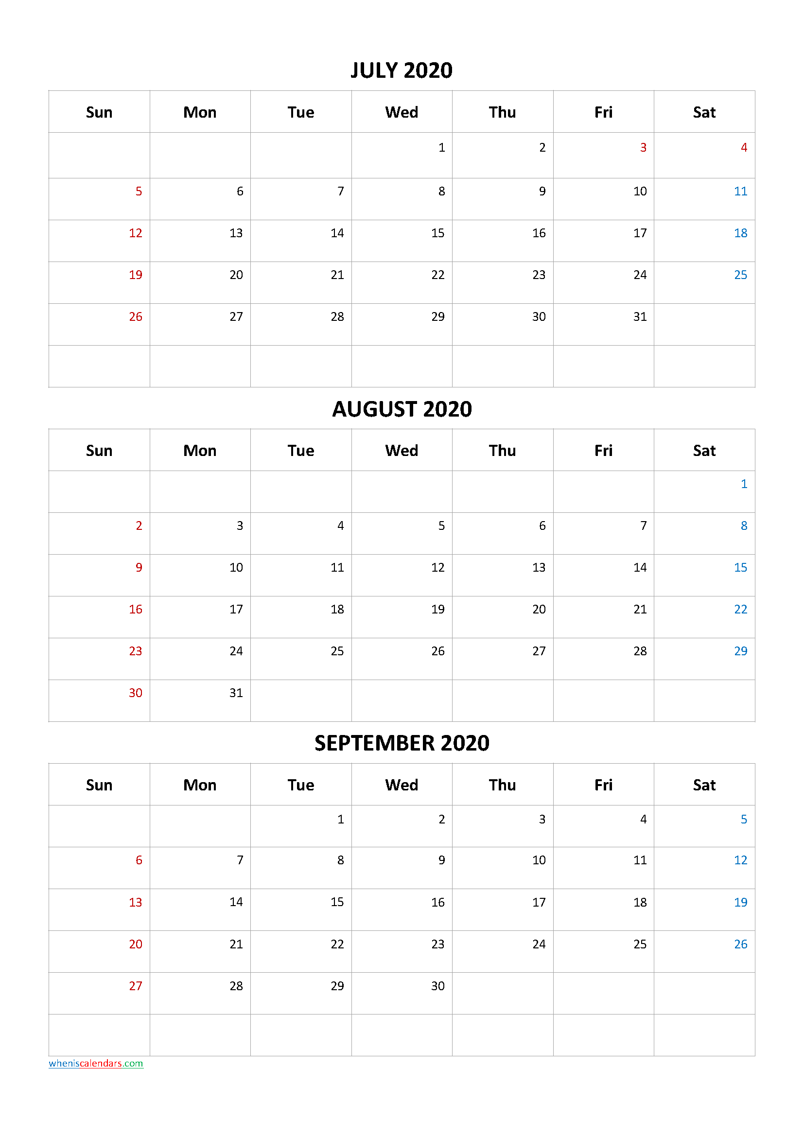 July August September 2020 Calendar Printable Free