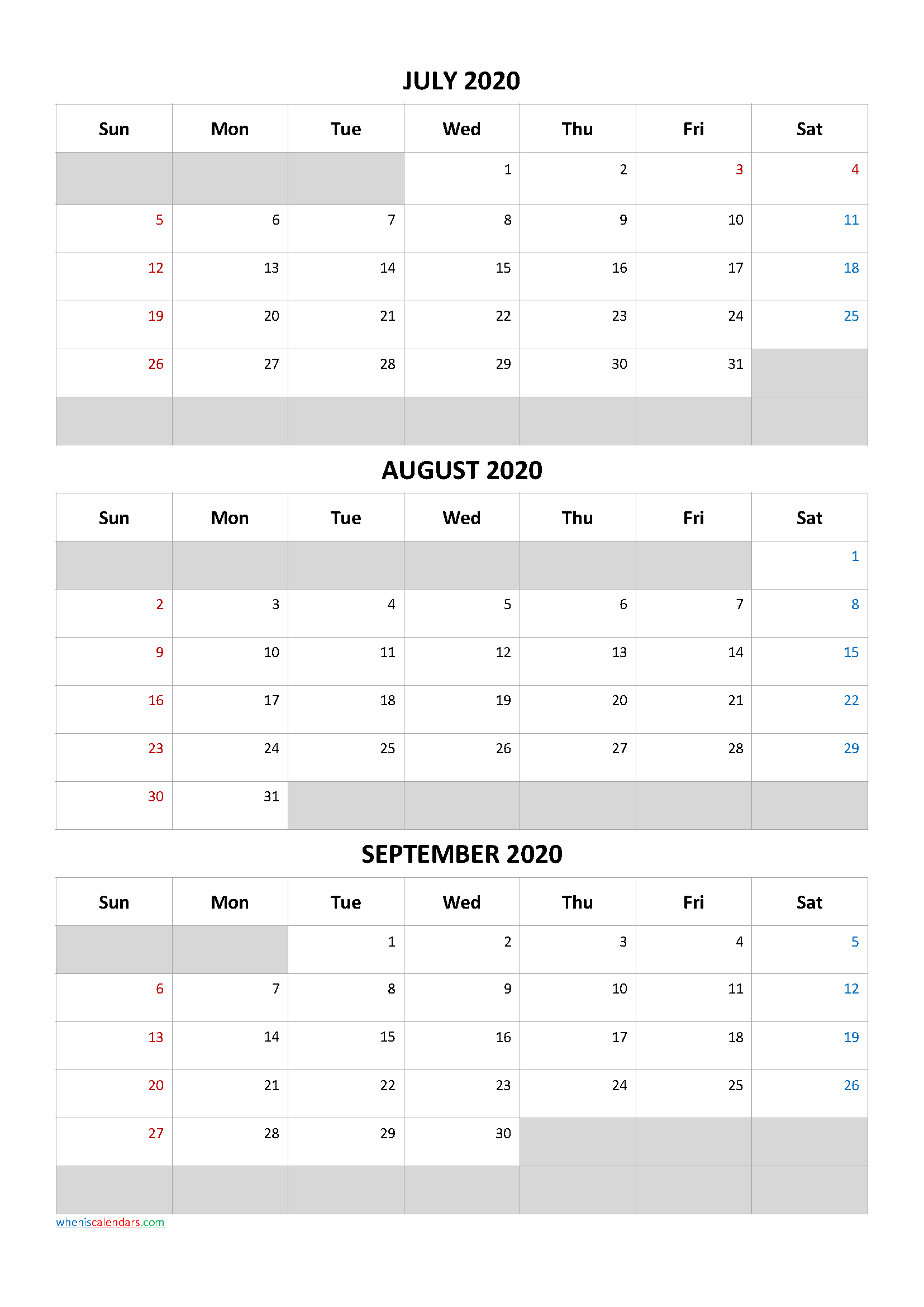 Free Calendar July August September 2020