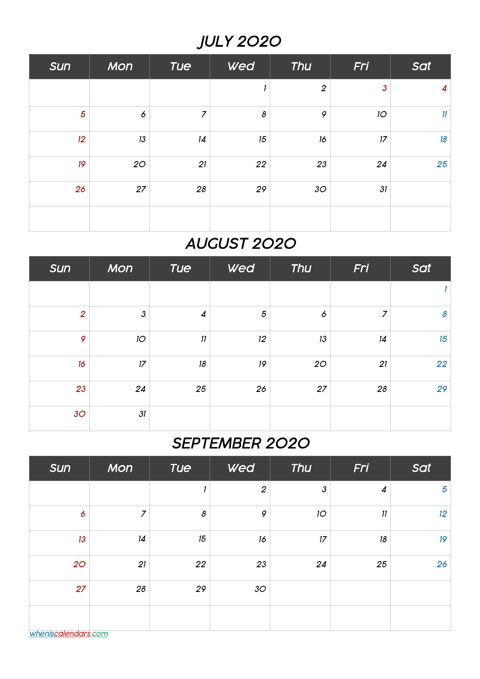 July August September 2020 Calendar Printable