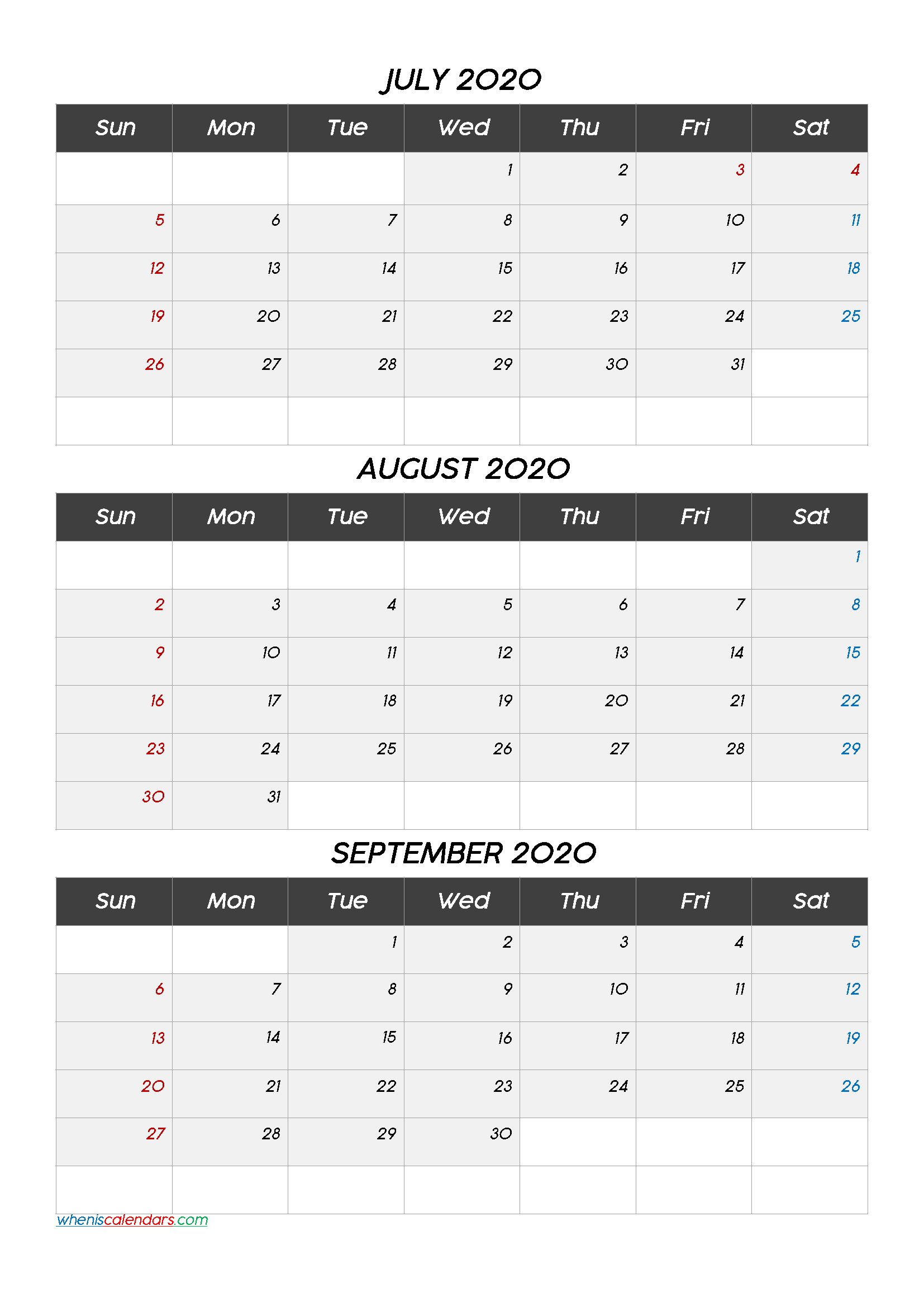 July August September 3 Month Printable Calendar 2020