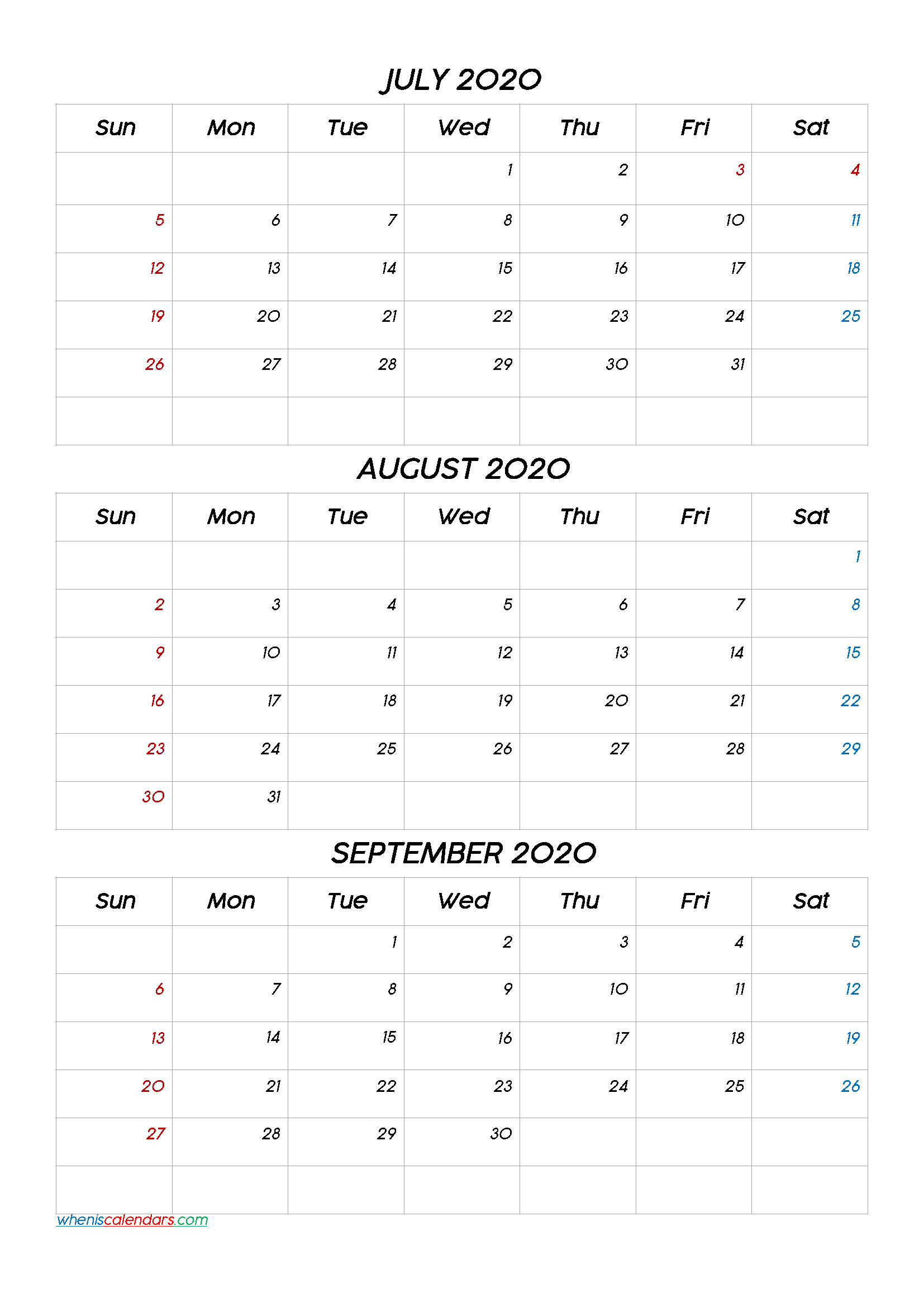 July August September 2020 Three Month Calendar Printable