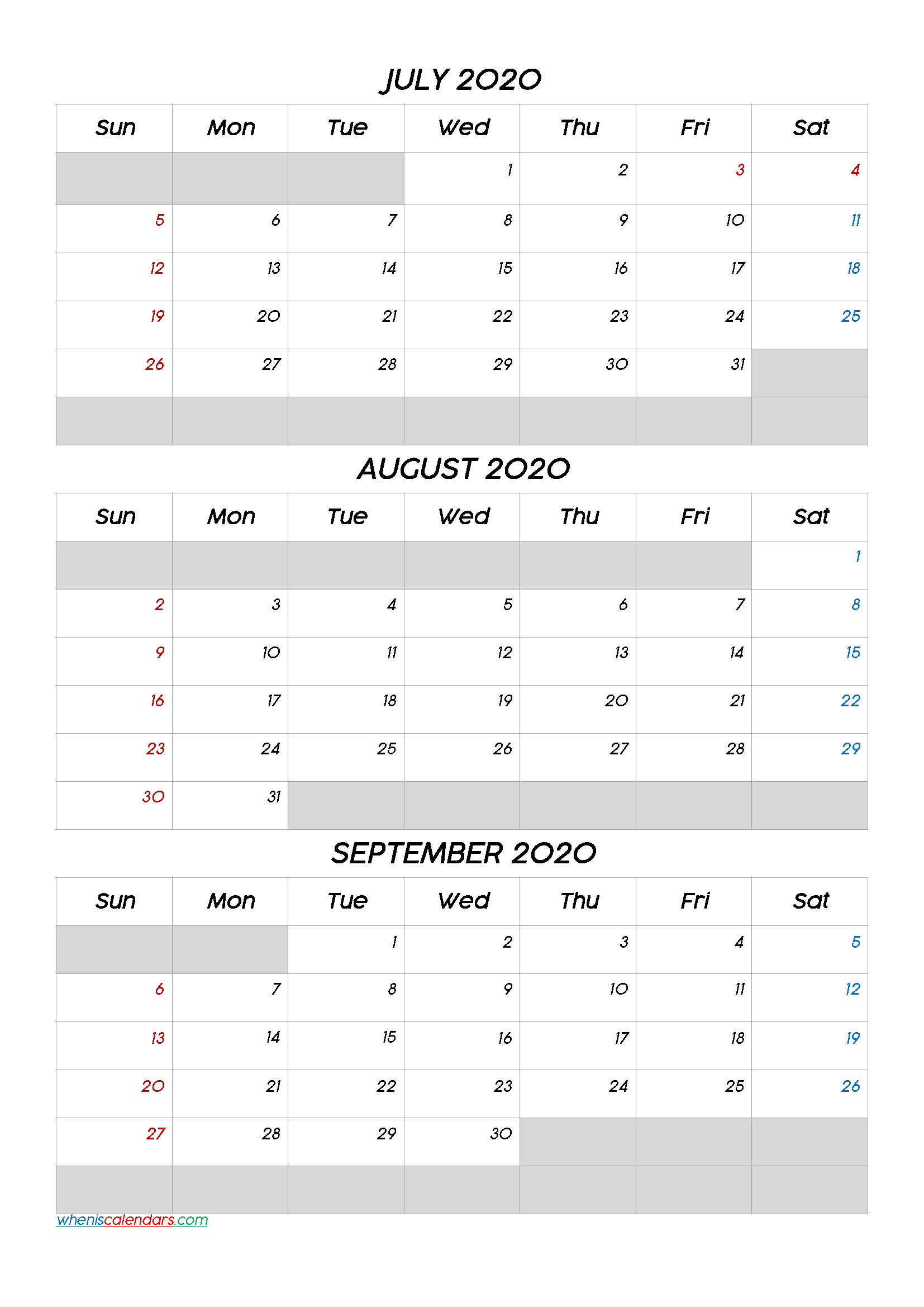 July August September 2020 Calendar Printable