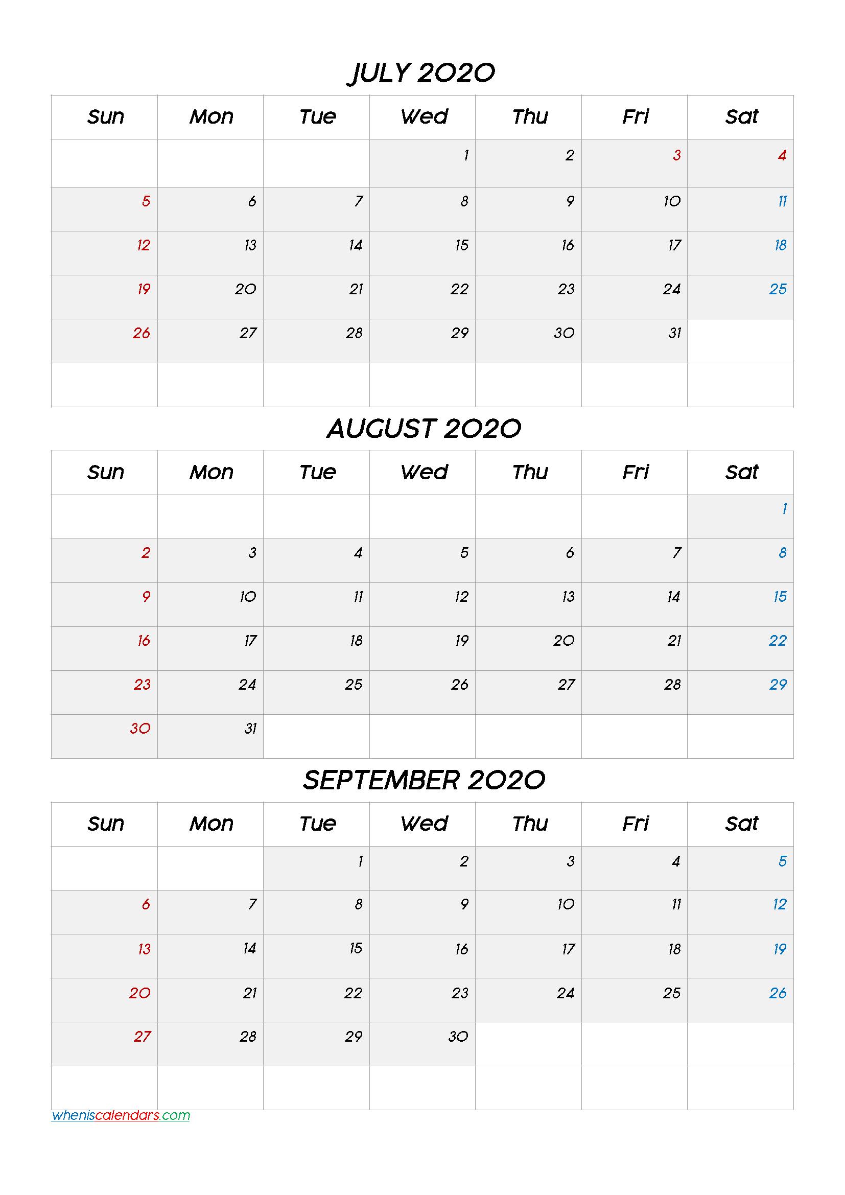 July August September 2020 Calendar Printable Free