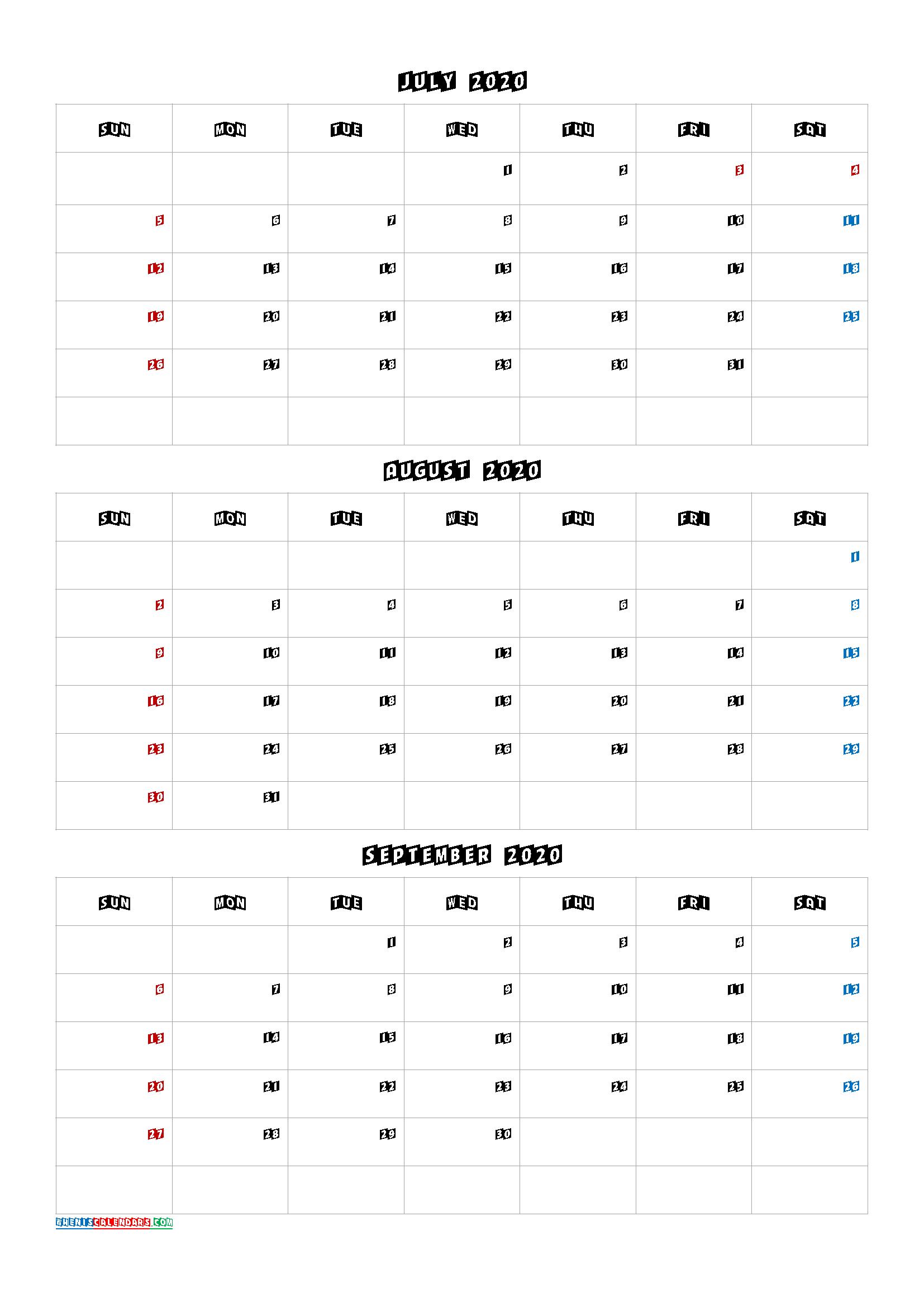 July August September 2021 Three Month Calendar Printable