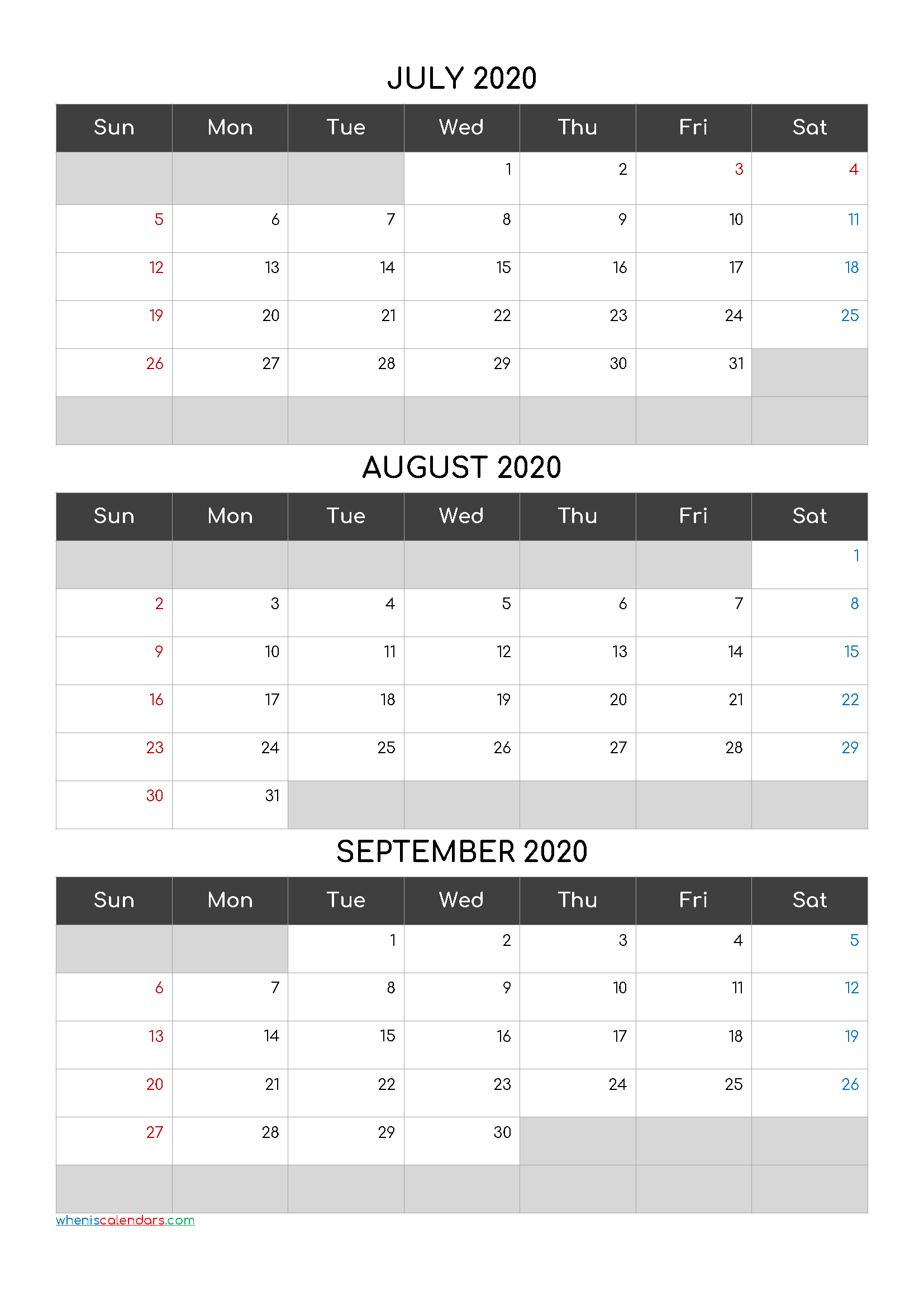 Printable Calendar July August September 2020