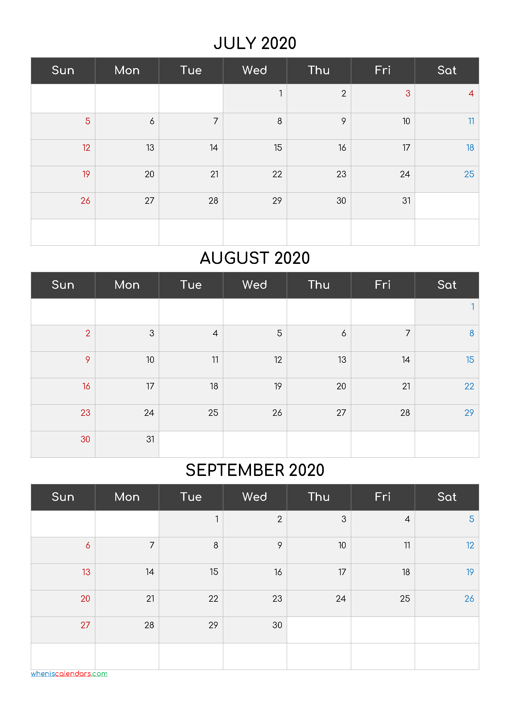 July August September 3 Month Printable Calendar 2020