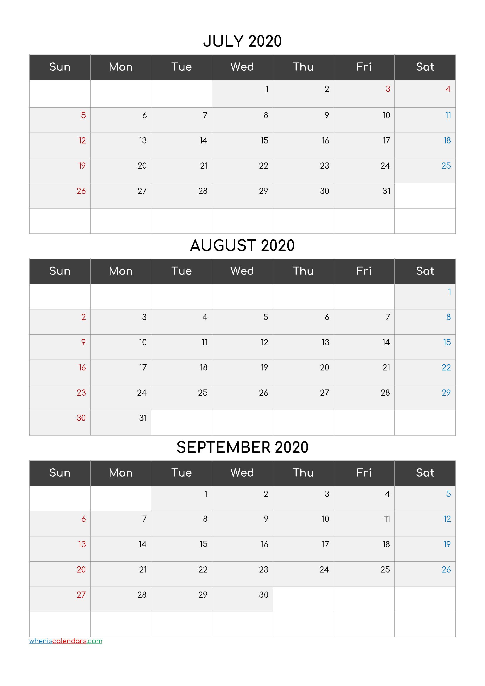 July August September 3 Month Printable Calendar 2021