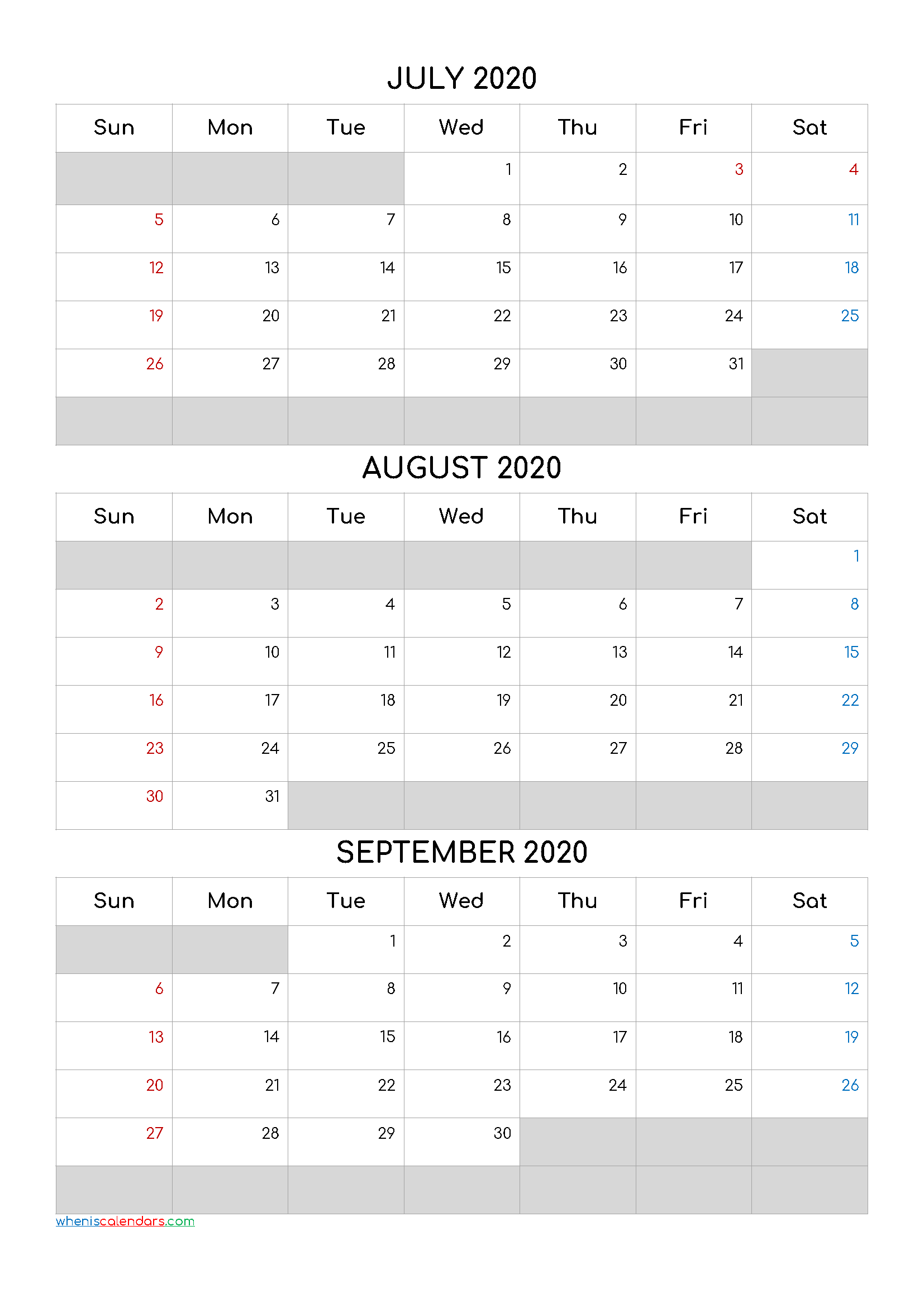 July August September 2021 Free Printable 3 Month Calendar