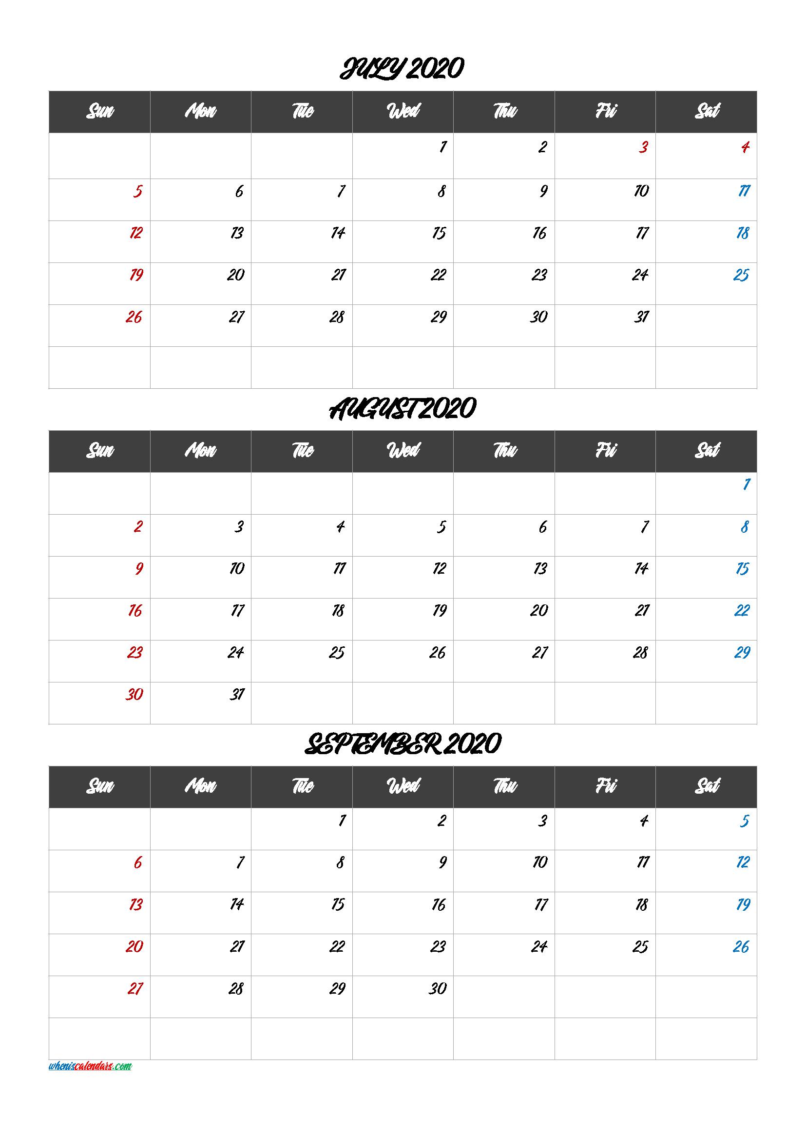 Free Printable 3 Month Calendar2020 July August September