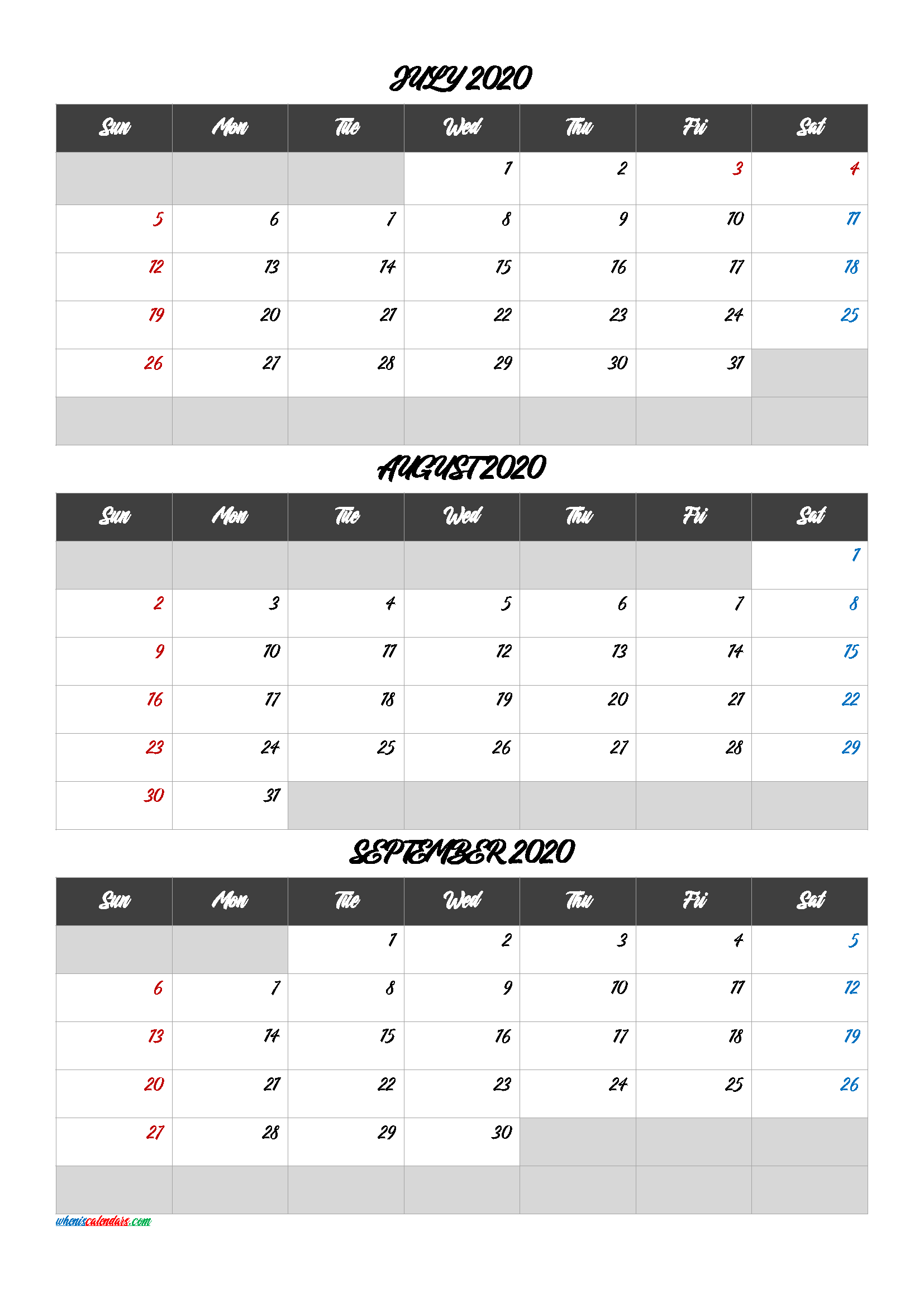 July August September 2020 Printable Calendar